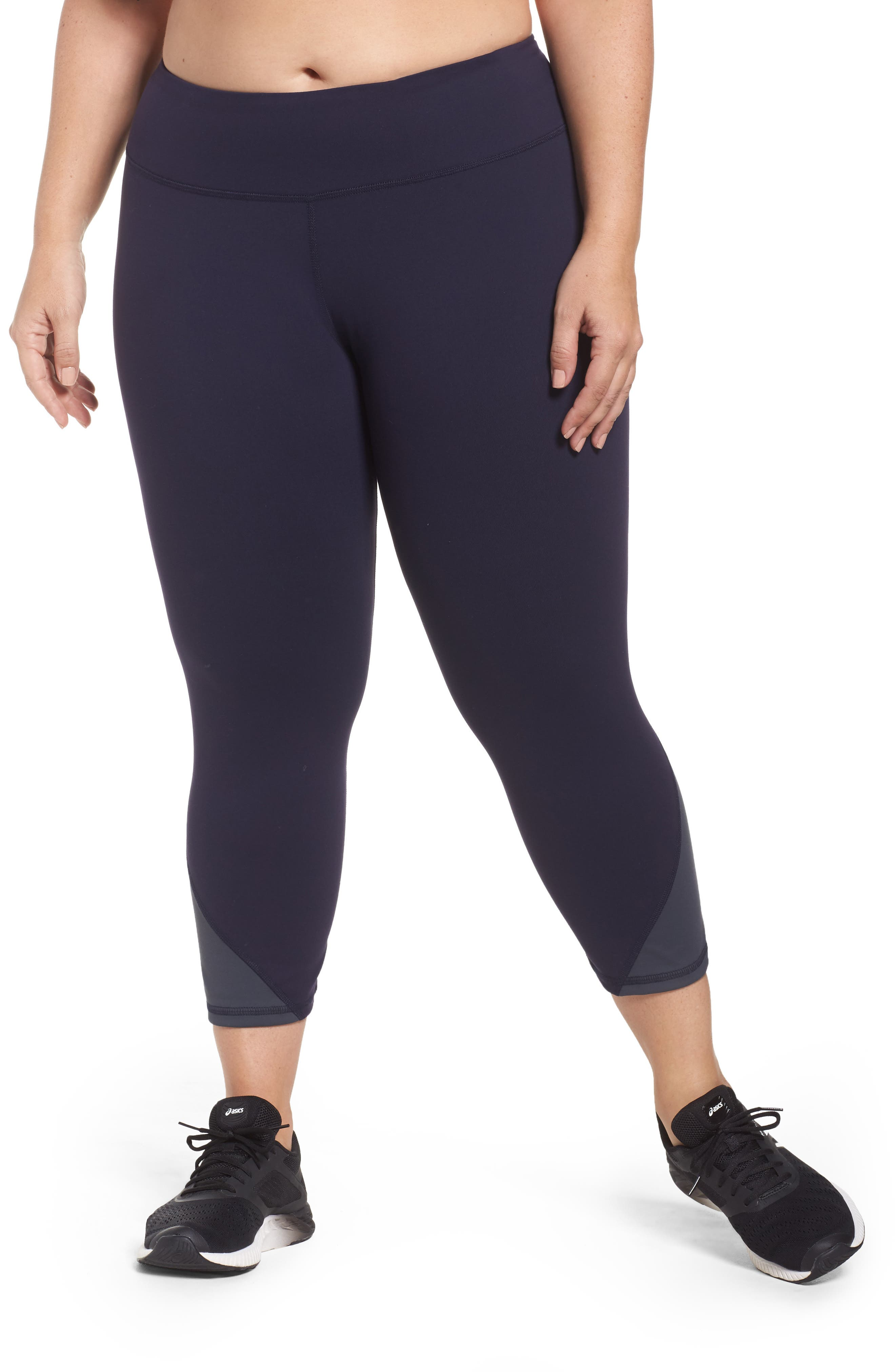 Colorblock Cropped Leggings,                         Main,                         color, Navy/ Charcoal