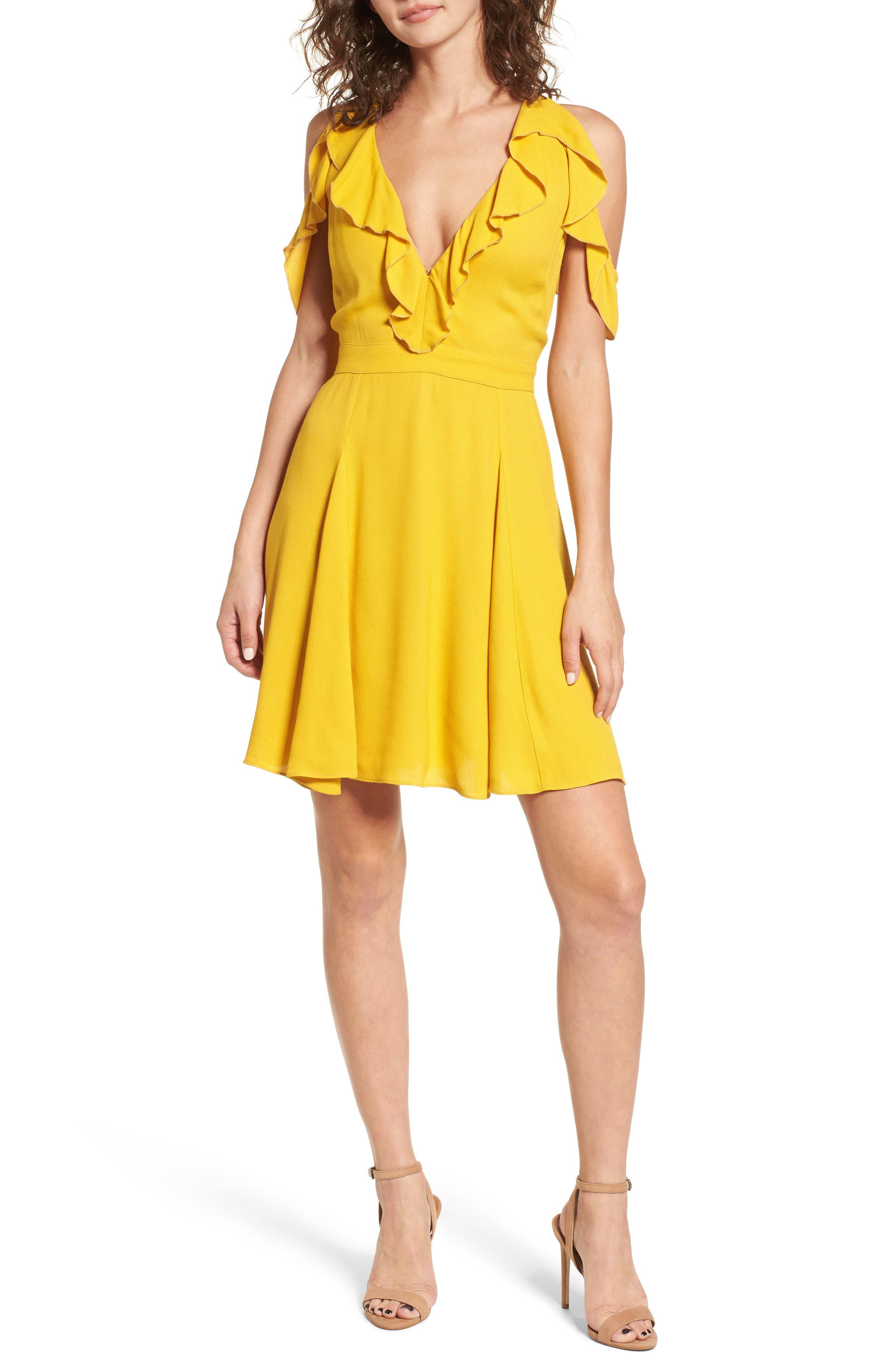 Enzo Cold Shoulder Fit & Flare Dress,                             Main thumbnail 1, color,                             Sun