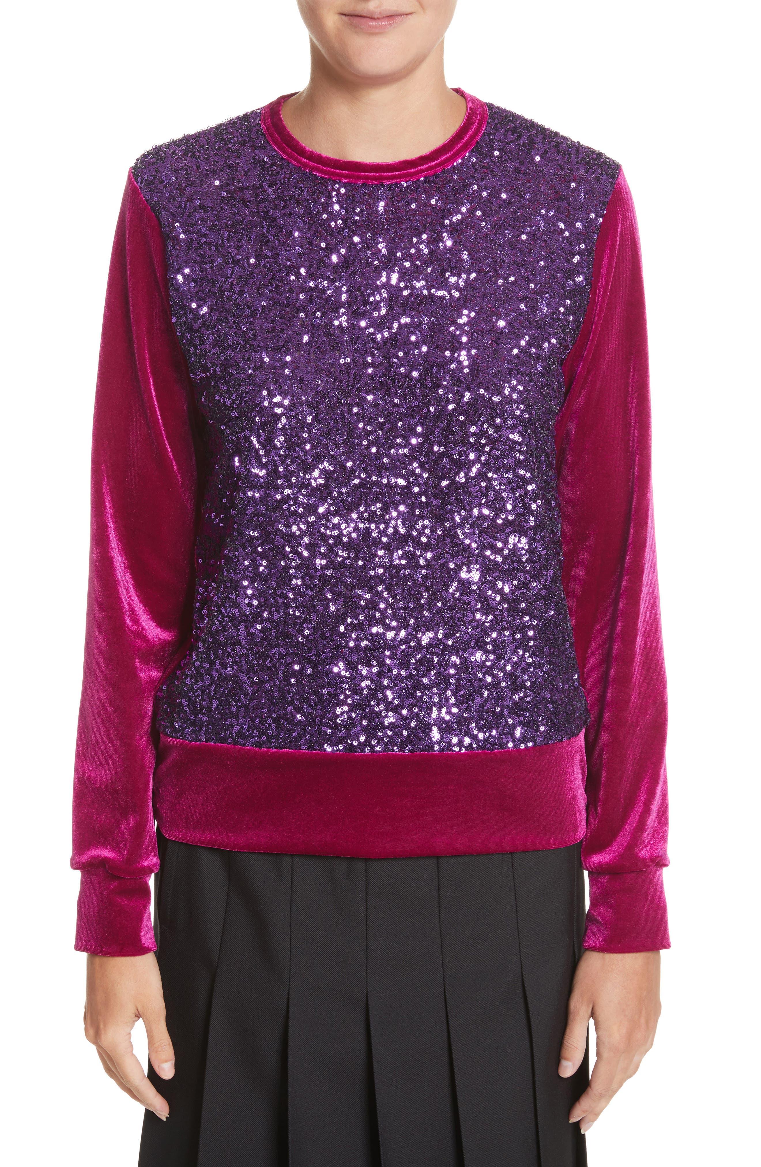 Sequin Velour Top,                         Main,                         color, Purple X Purple