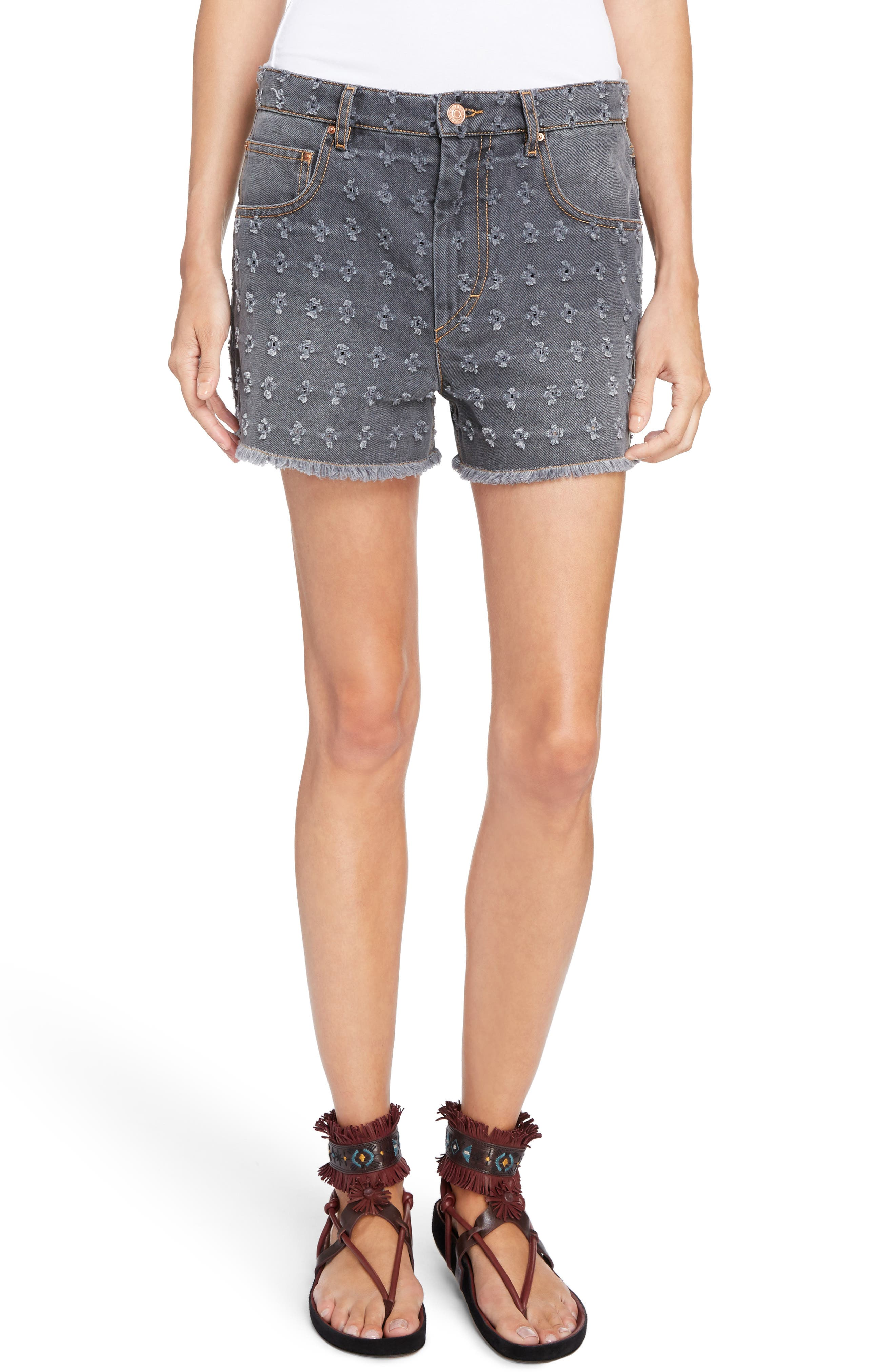 Isabel Marant Étoile Ripped Denim Shorts,                             Main thumbnail 1, color,                             Grey
