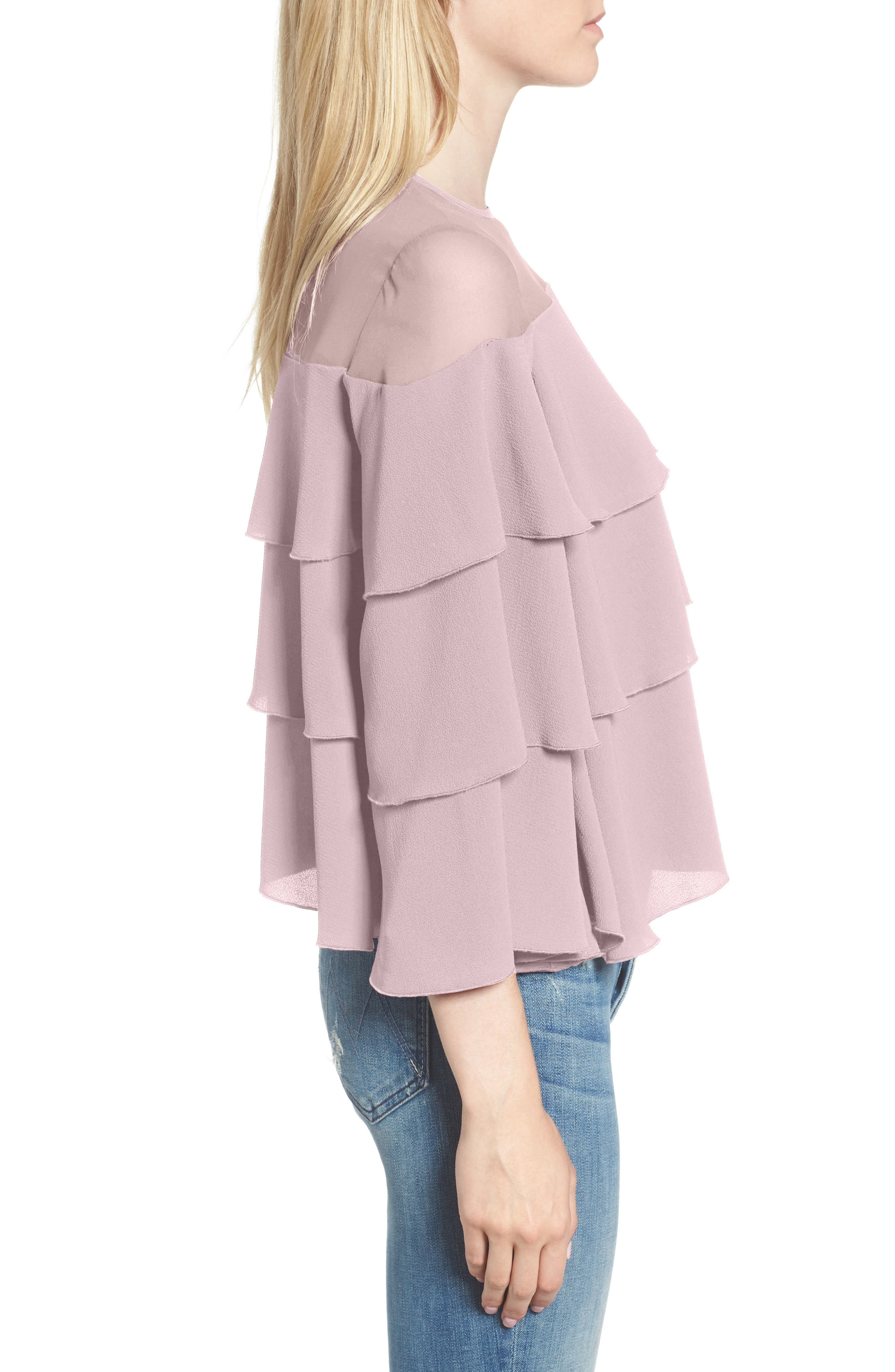 Medena Tiered Ruffle Top,                             Alternate thumbnail 3, color,                             Pale Lavender