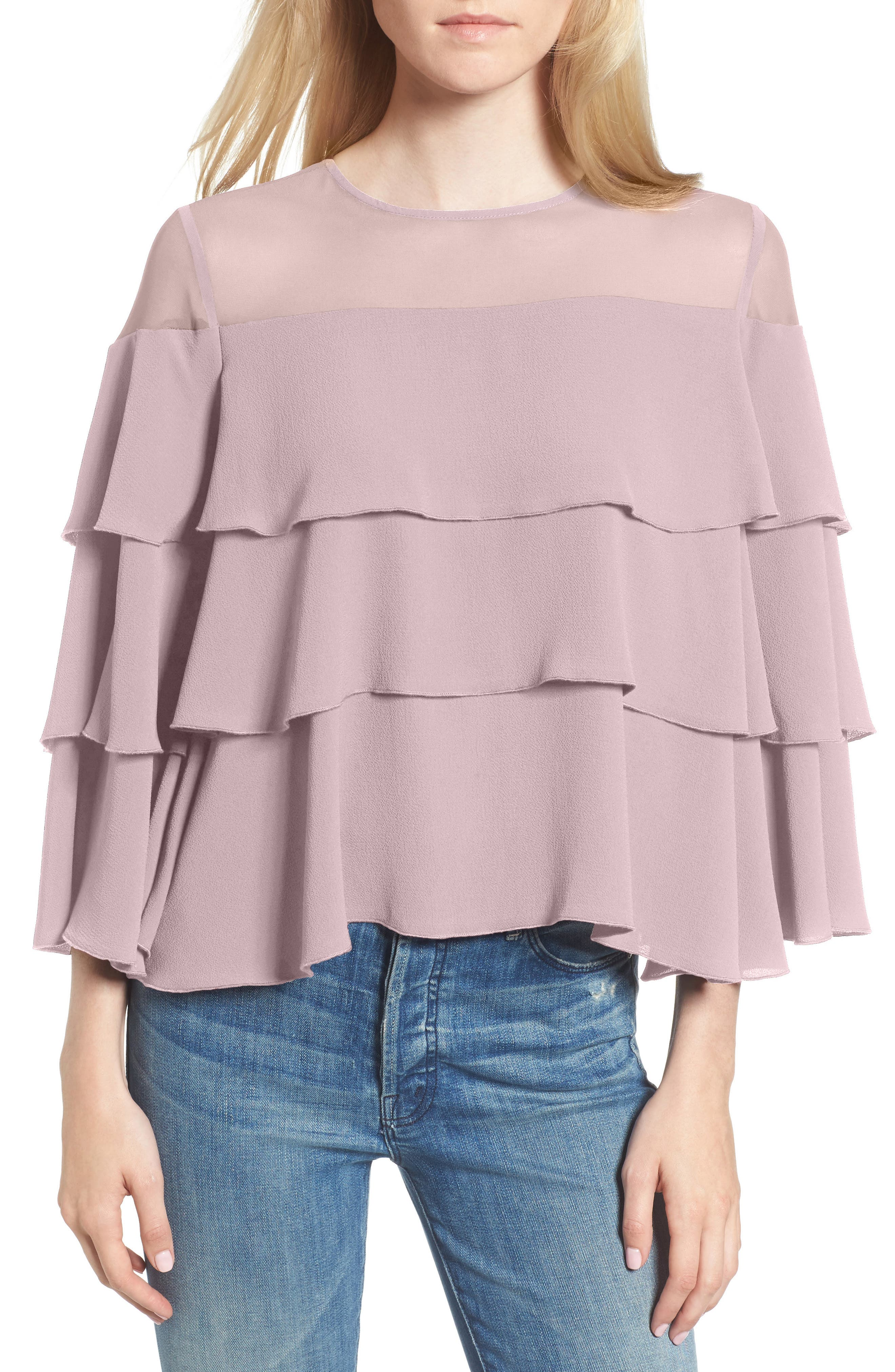 Medena Tiered Ruffle Top,                             Main thumbnail 1, color,                             Pale Lavender