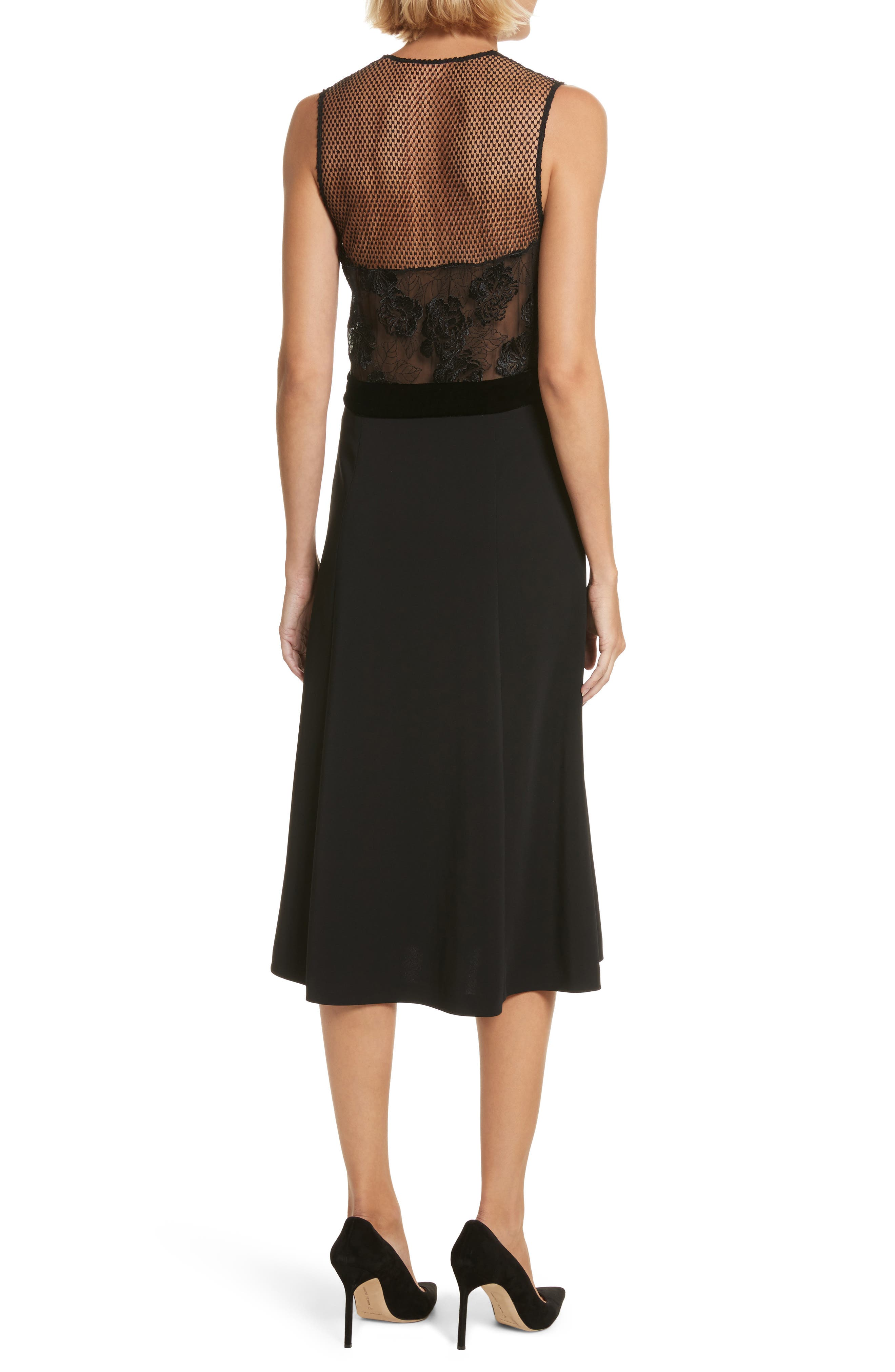 Harlow Velvet Button Dress,                             Alternate thumbnail 2, color,                             Black