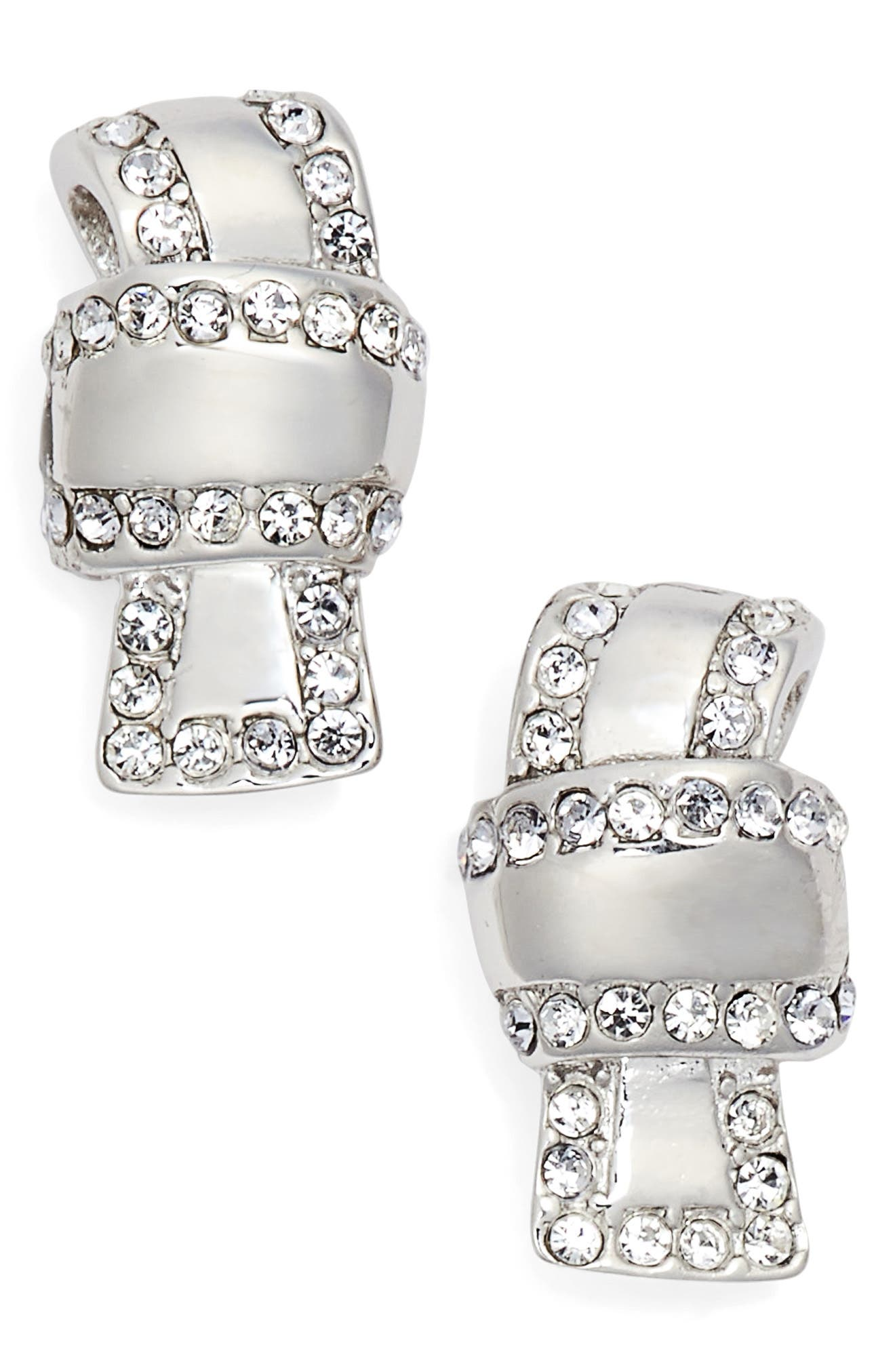 all tied up pavé stud earrings,                             Main thumbnail 1, color,                             Clear/ Silver