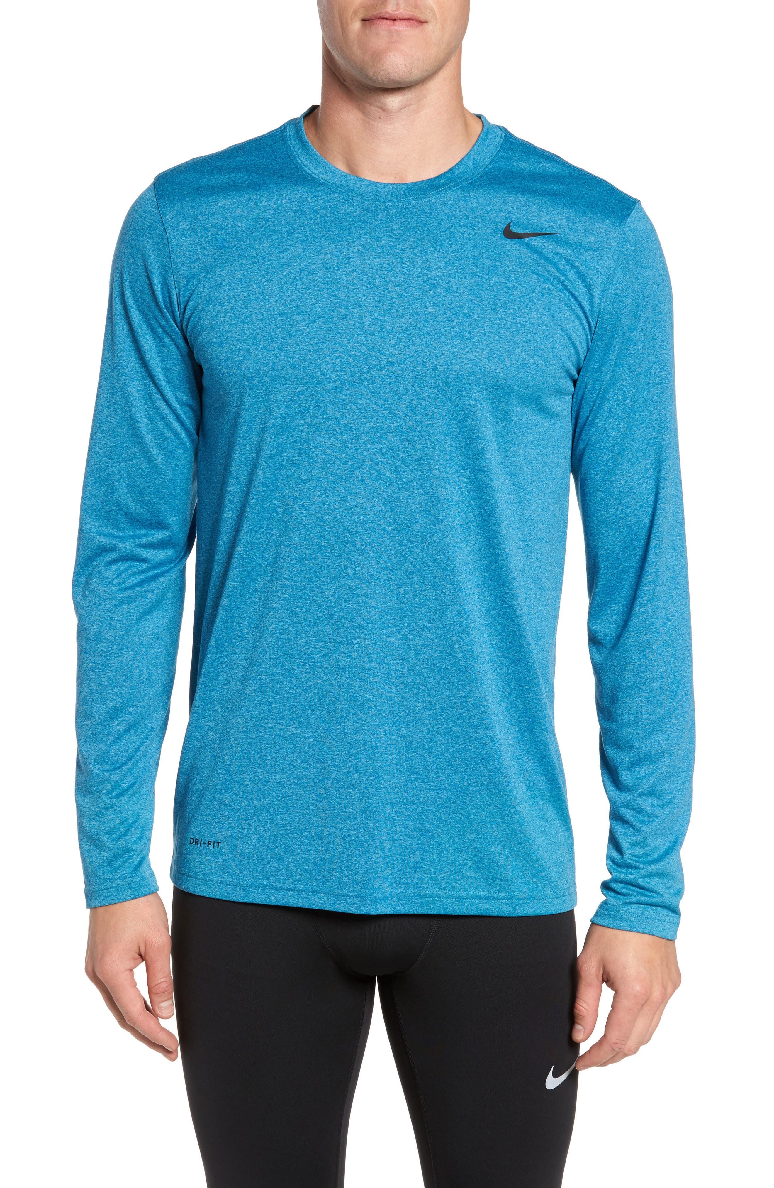 'Legend 2.0' Long Sleeve Dri-FIT Training T-Shirt,                         Main,                         color, Gym Blue/ Blue/ Heather