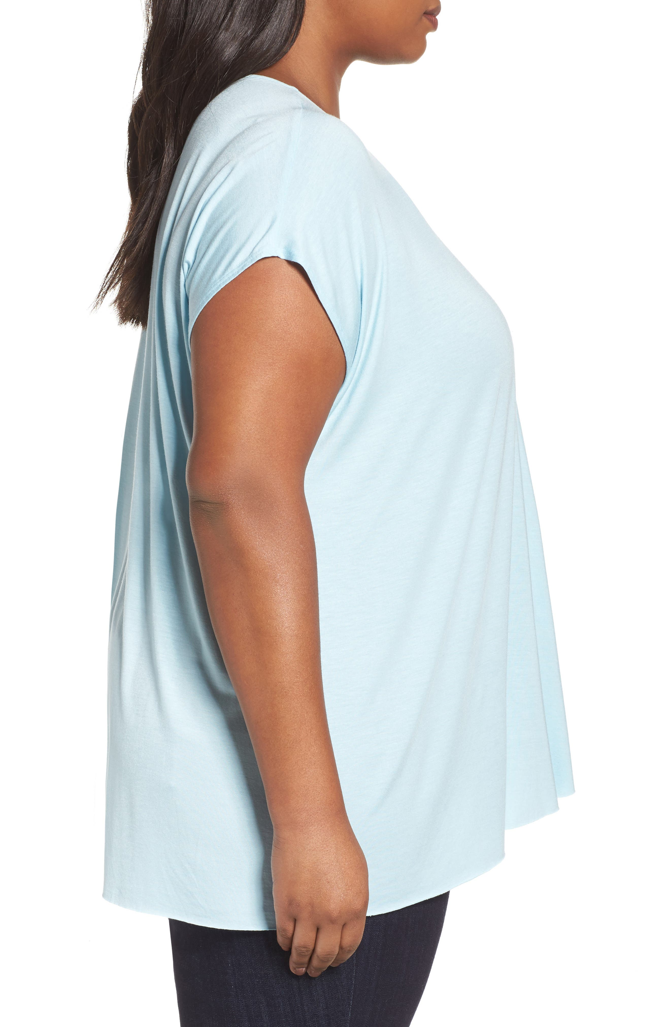 Pleat Front Tee,                             Alternate thumbnail 3, color,                             Blue Crystal