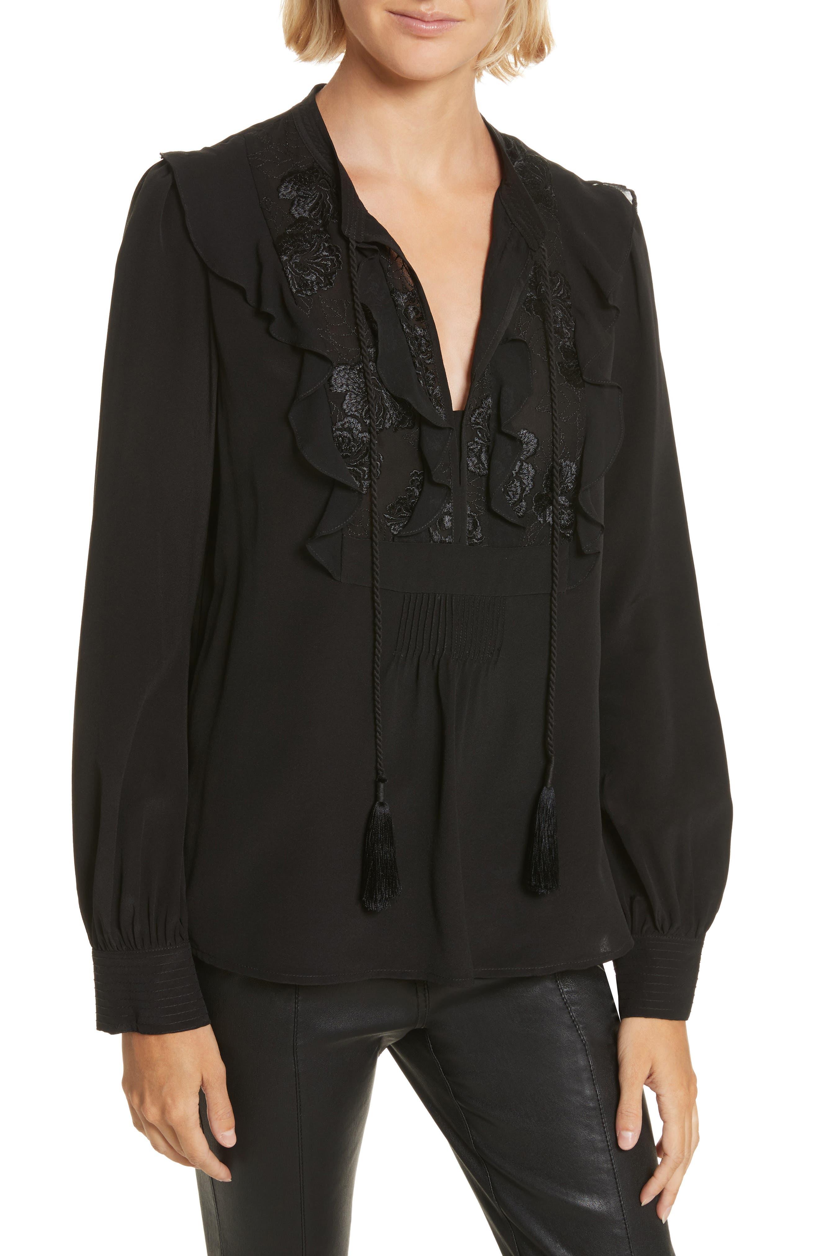 Blyth Silk Top,                         Main,                         color, Black