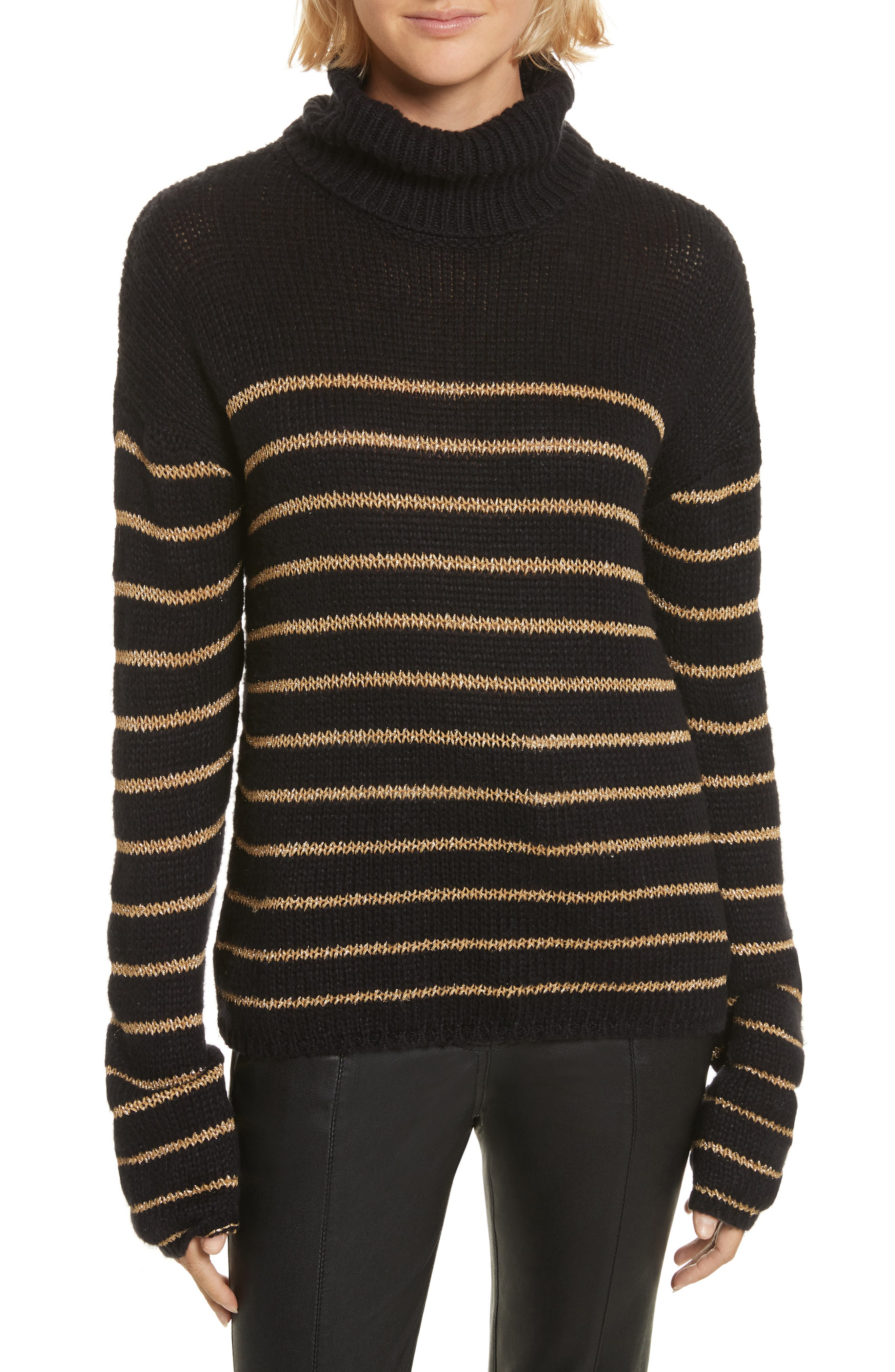 Alternate Image 1 Selected - A.L.C. Elisa Metallic Stripe Turtleneck Sweater