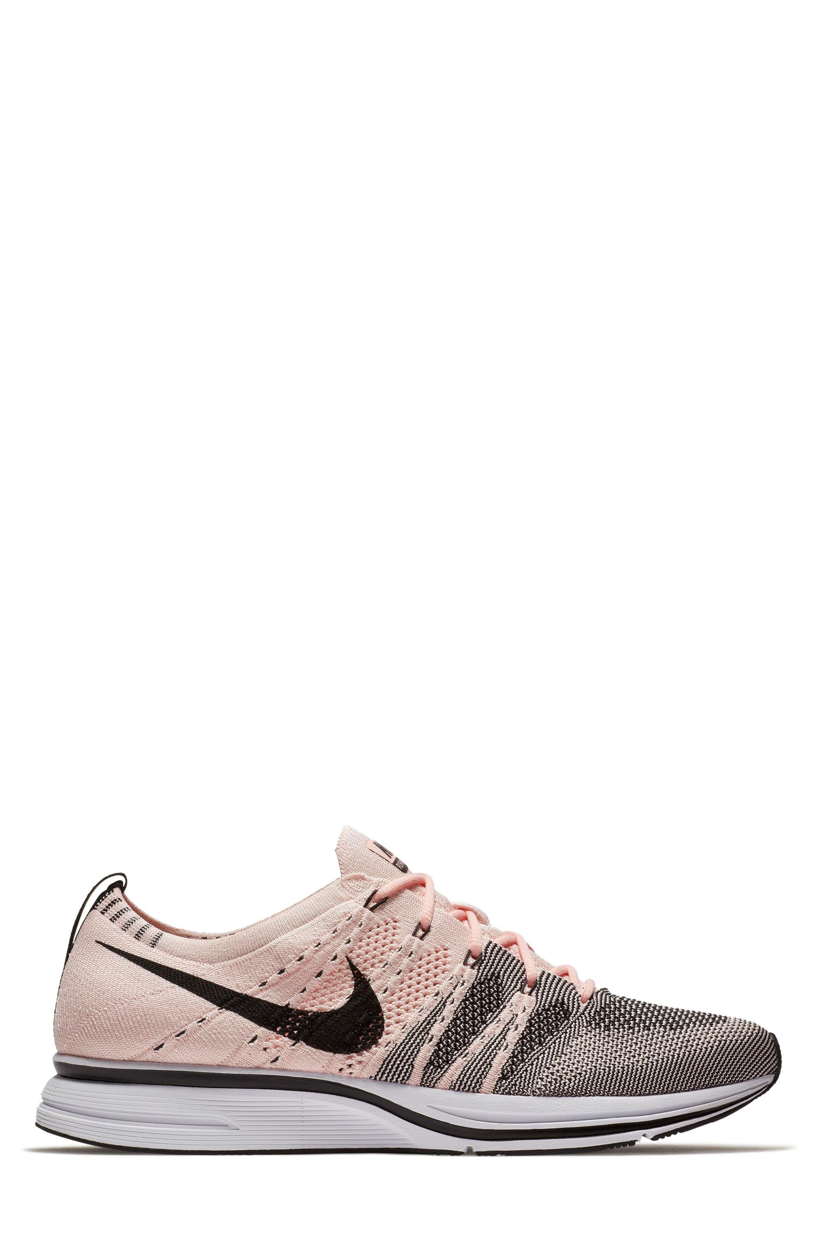 NikeLab Flyknit Trainer Sneaker,                             Alternate thumbnail 3, color,                             Sunset Tint/Black-White