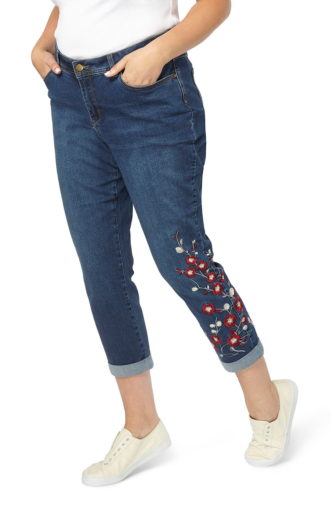Alternate Image 1 Selected - Evans Embroidered Crop Boyfriend Jeans (Plus Size)