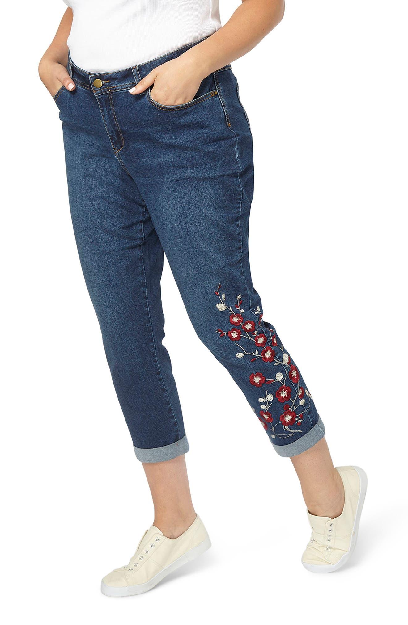 Embroidered Crop Boyfriend Jeans,                         Main,                         color, Denim