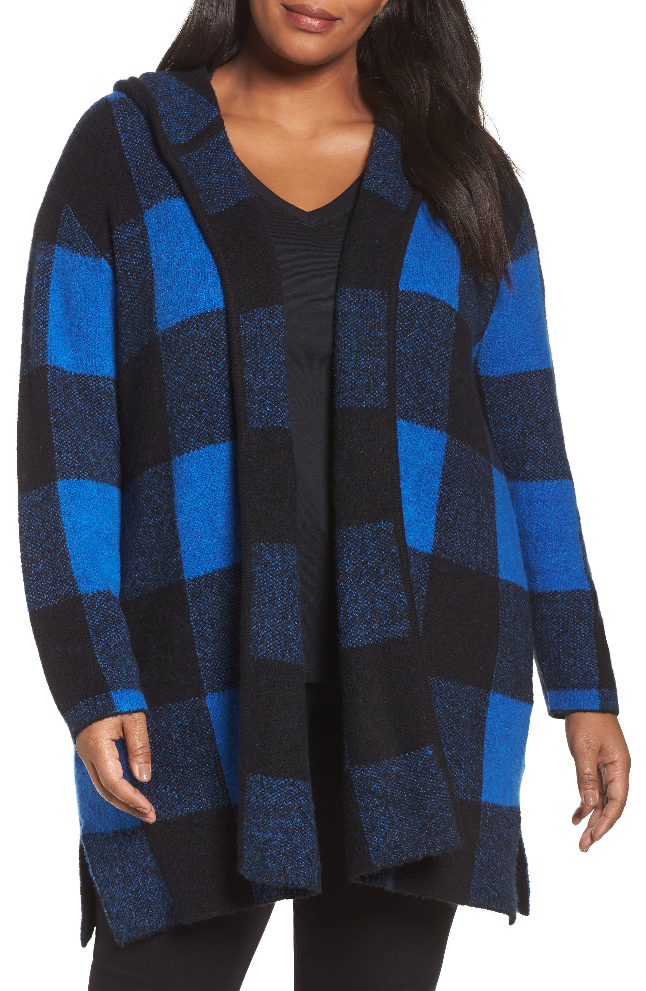 Plaid Hooded Sweater Coatigan,                             Main thumbnail 1, color,                             Blue Checkerboard Jacquard