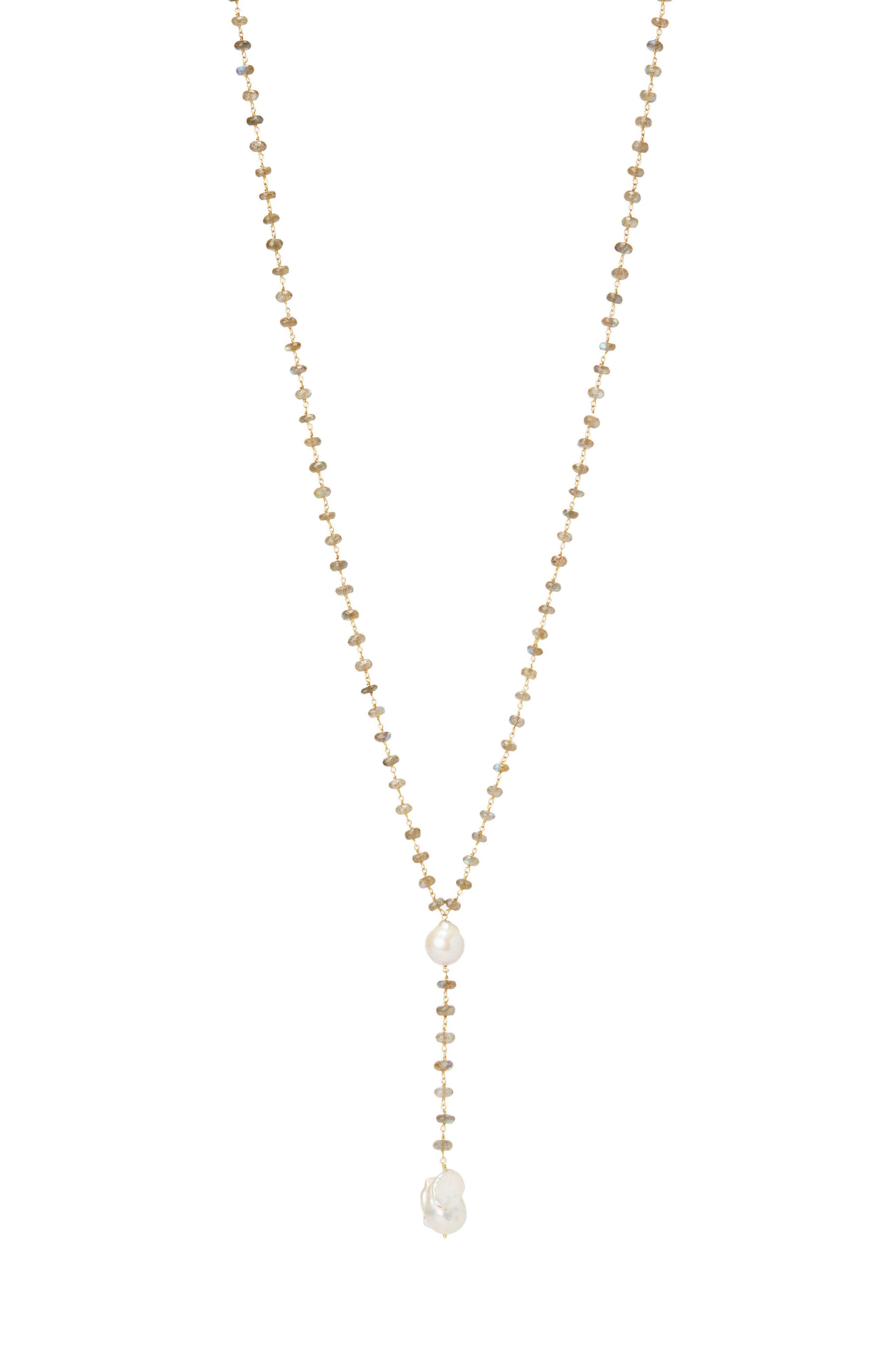 Bora Bora Semiprecious Stone & Baroque Pearl Y-Necklace,                             Main thumbnail 1, color,                             Labradorite