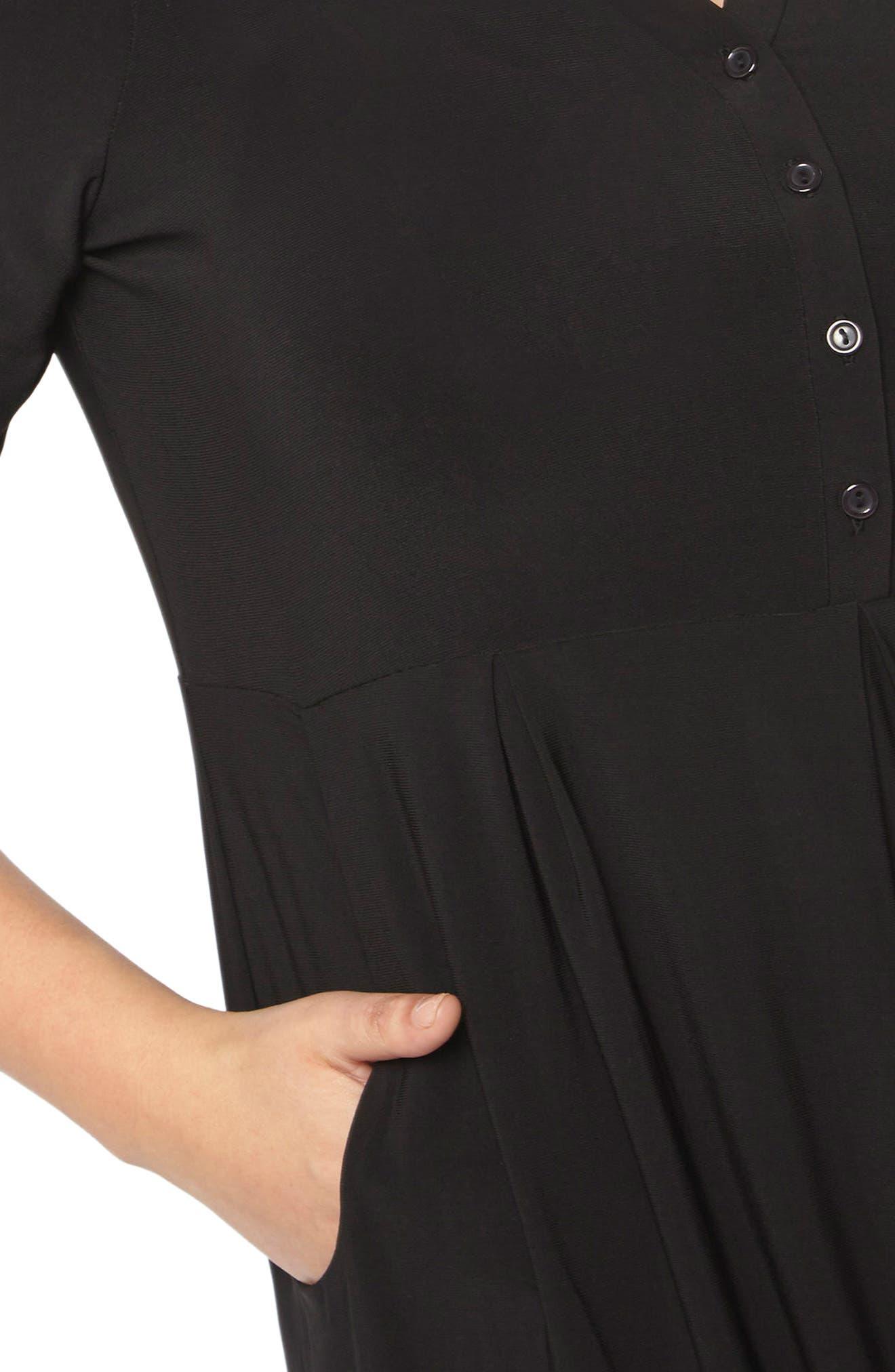 Pleat Jersey Dress,                             Alternate thumbnail 4, color,                             Black