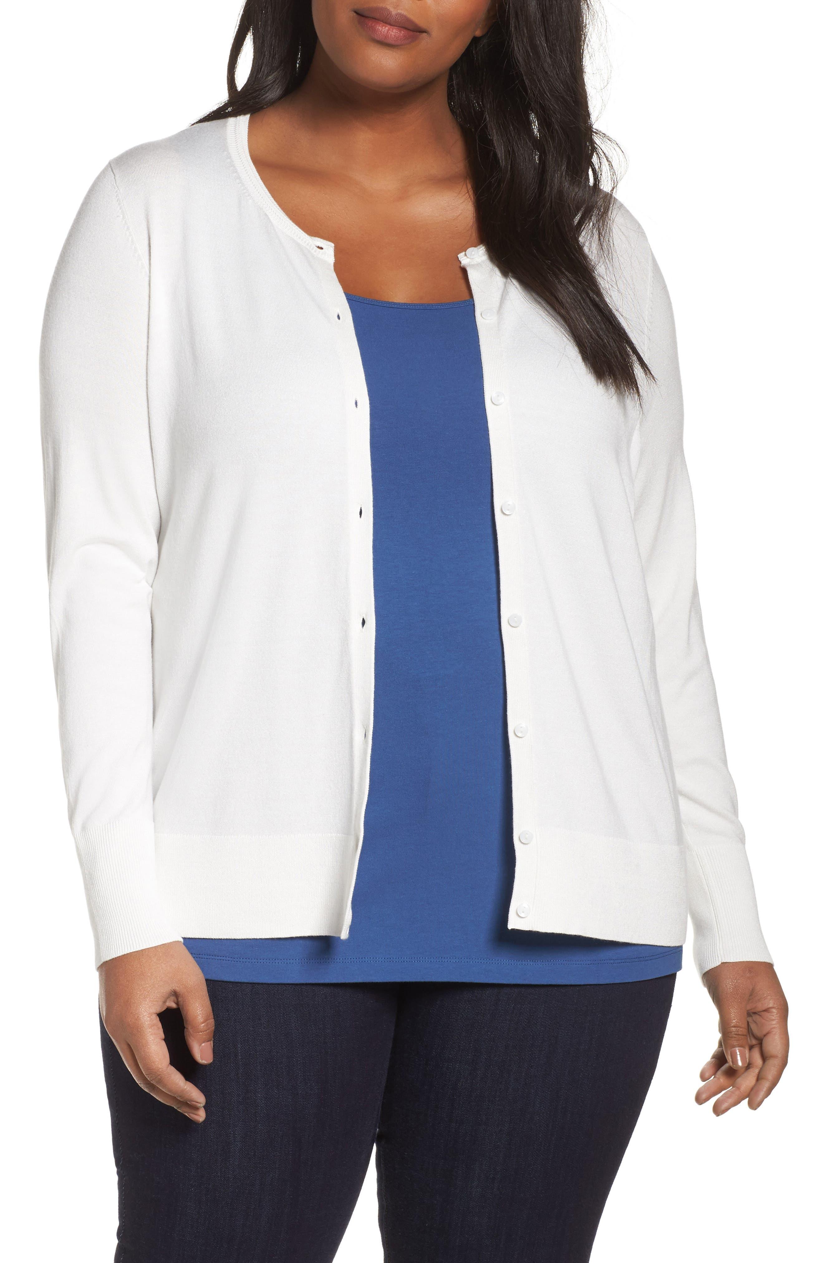 Main Image - Sejour Button Front Cardigan (Plus Size)