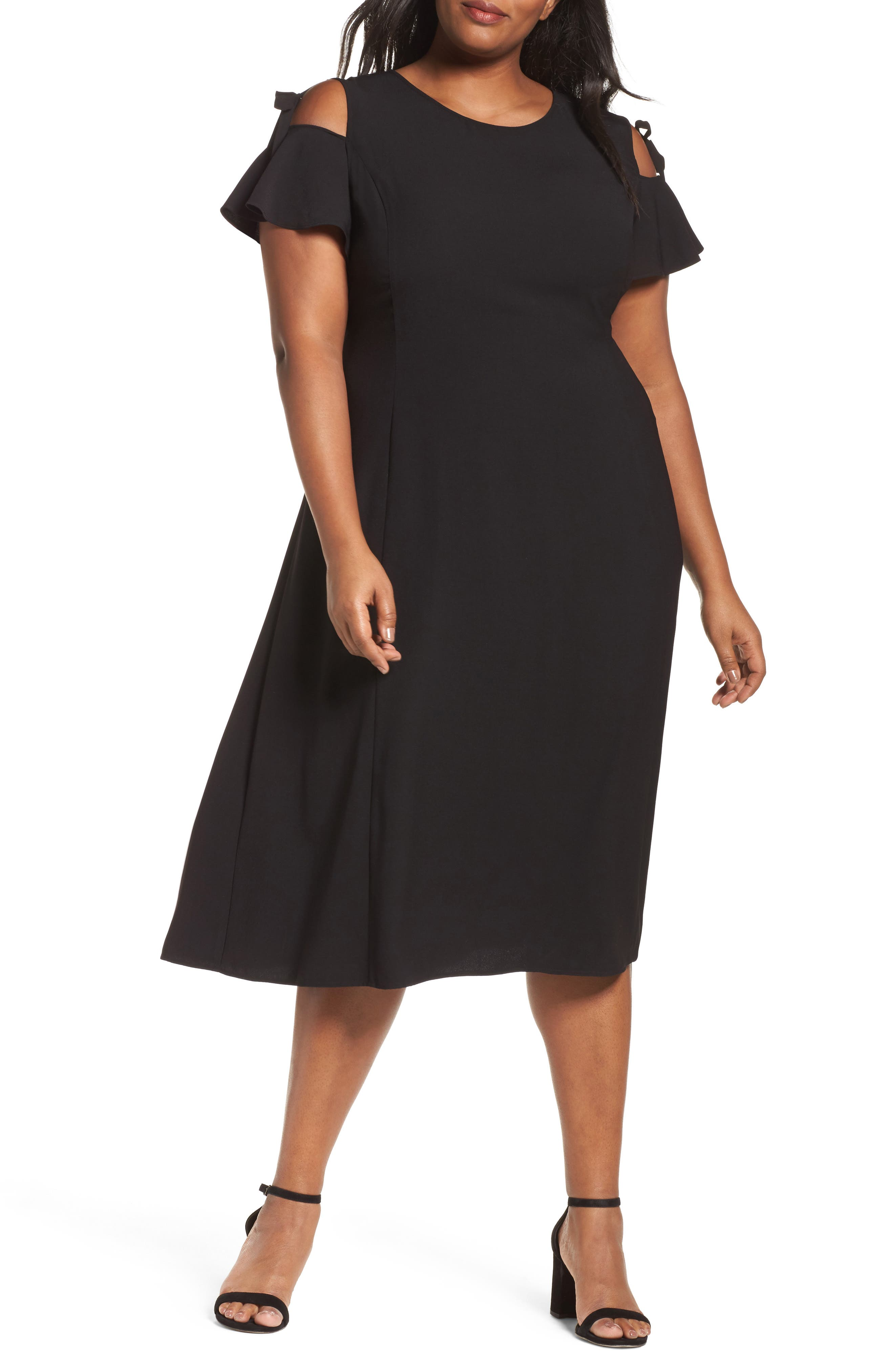 Sejour Cold Shoulder A-Line Dress (Plus Size)