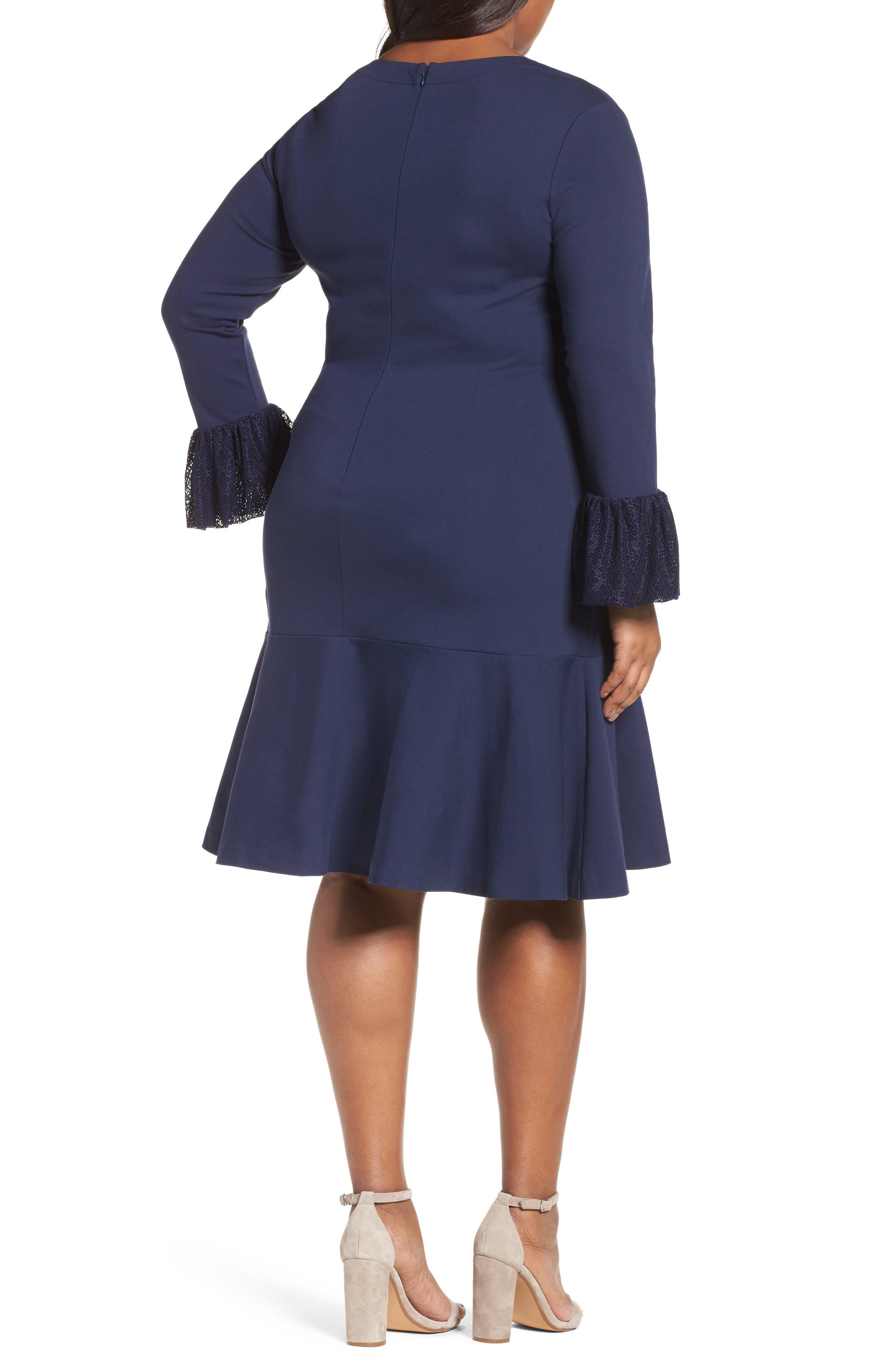 Alternate Image 2  - Sejour Flounce Hem Dress (Plus Size)