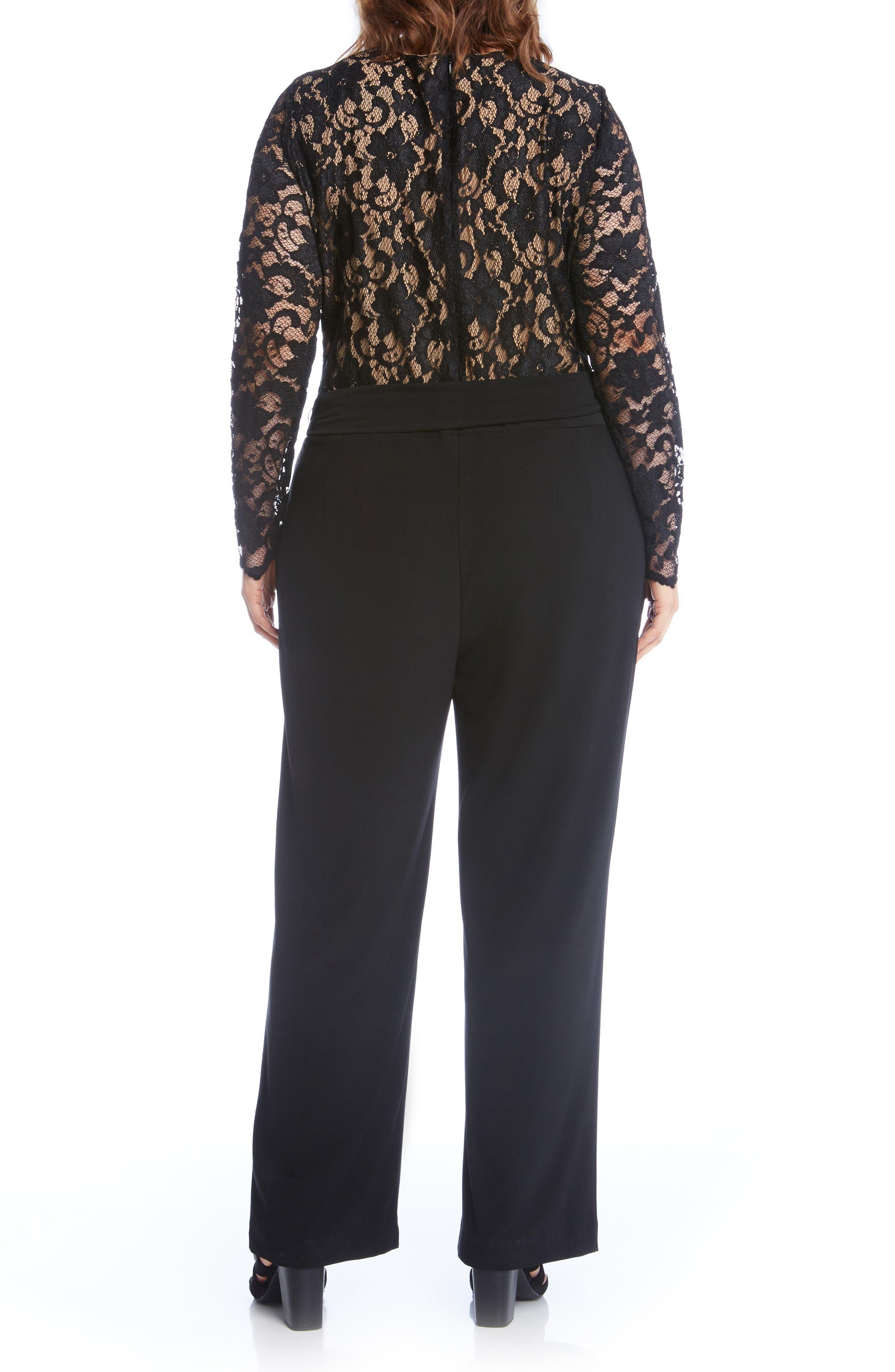 Alternate Image 3  - Karen Kane Lace & Jersey Palazzo Jumpsuit (Plus Size)