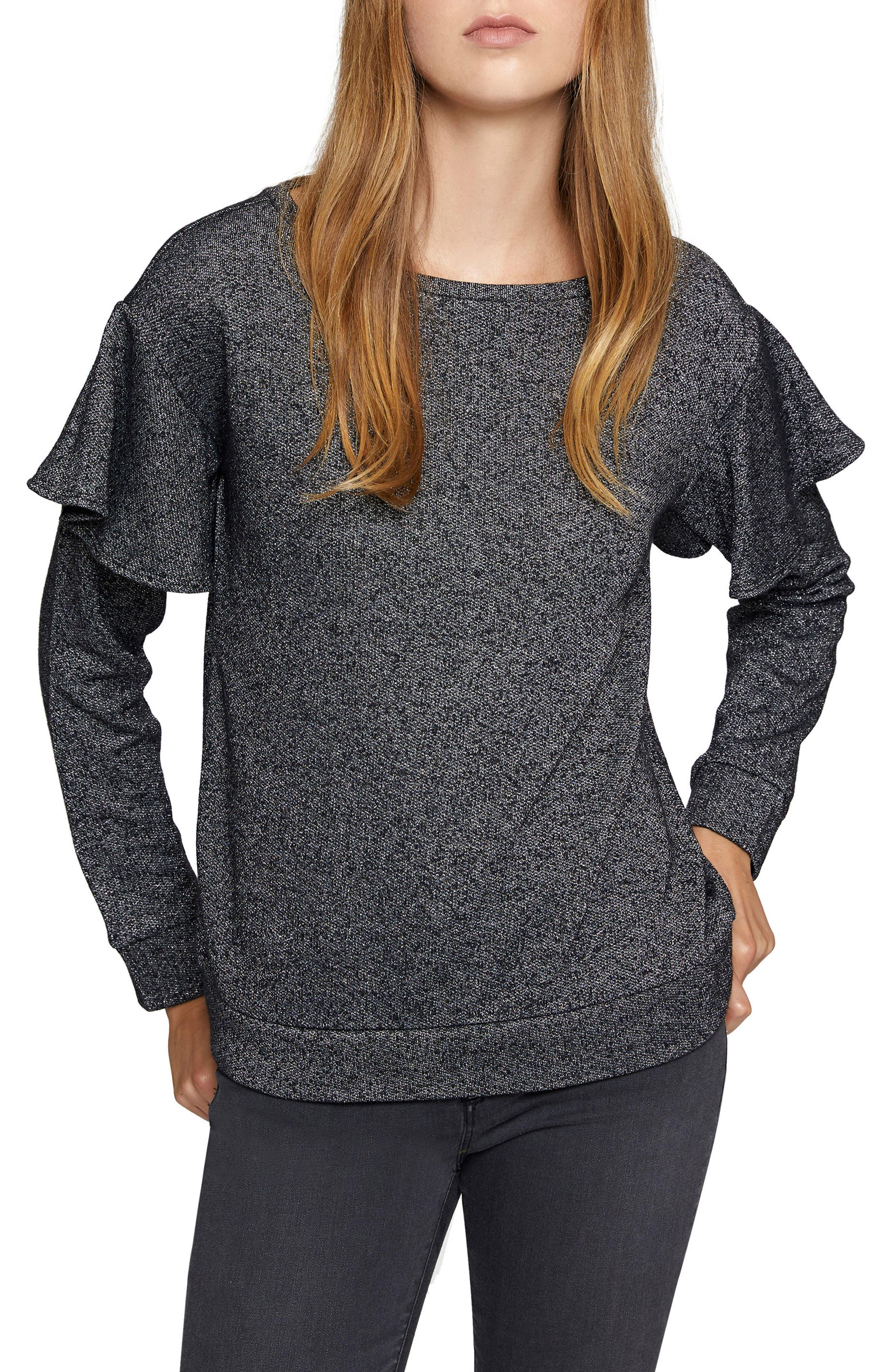 Dominique Metallic Sweatshirt,                         Main,                         color, Black