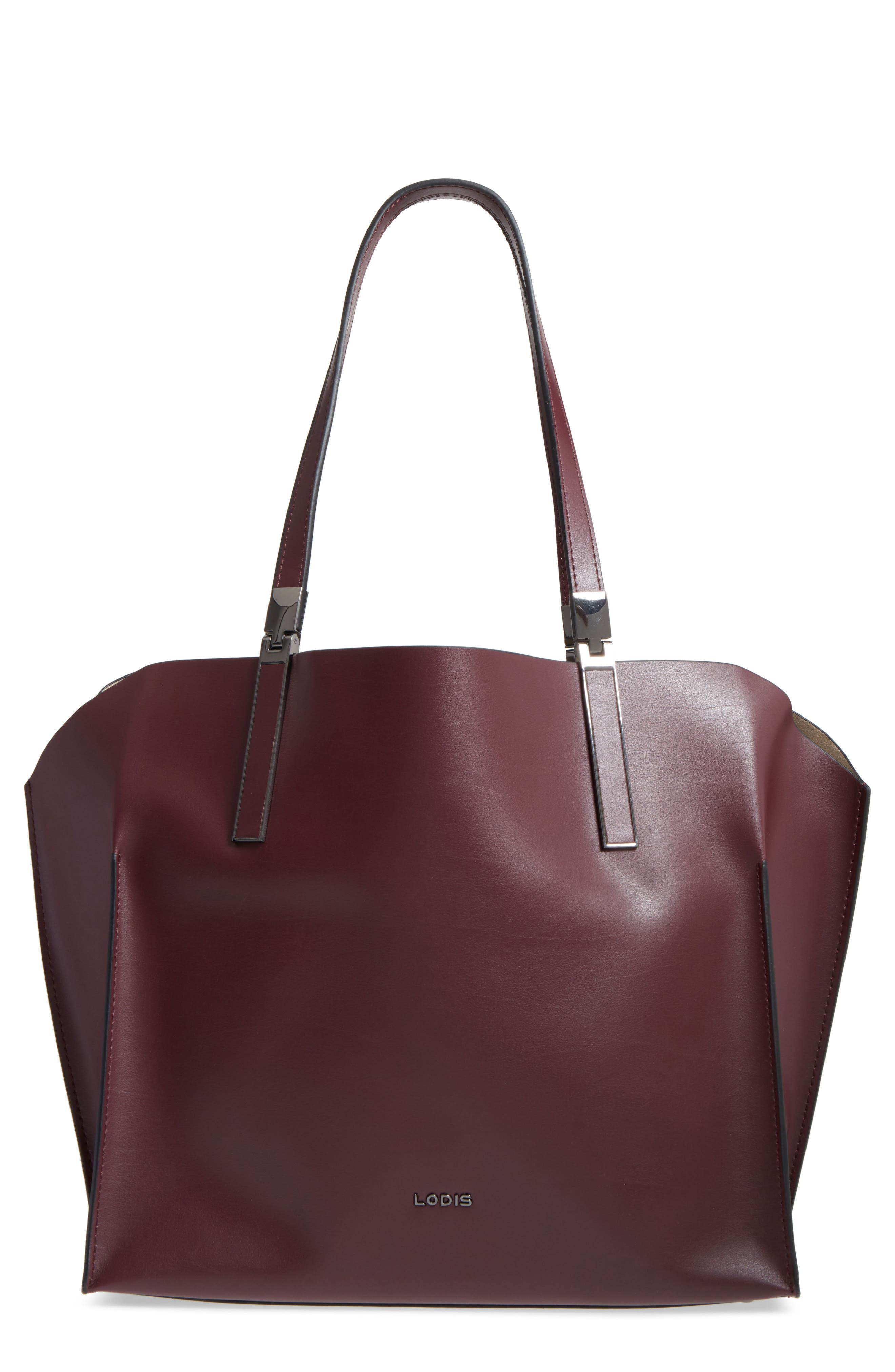 LODIS Silicon Valley Collection Under Lock & Key - Anita RFID East/West Leather Satchel,                             Main thumbnail 1, color,                             Chianti/ Taupe