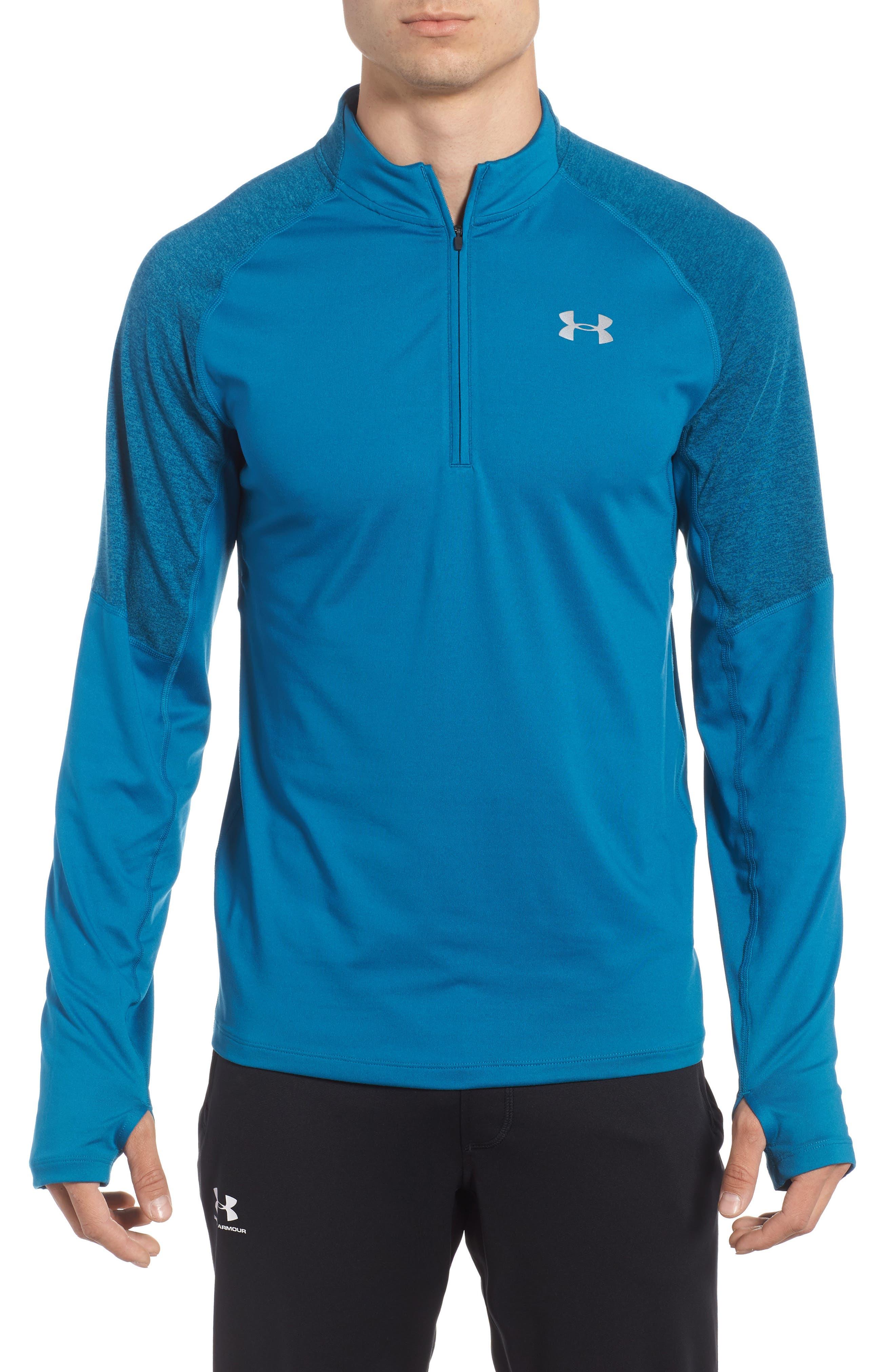 Threadborne Quarter Zip Performance T-Shirt,                             Main thumbnail 1, color,                             Bayou Blue / Reflective