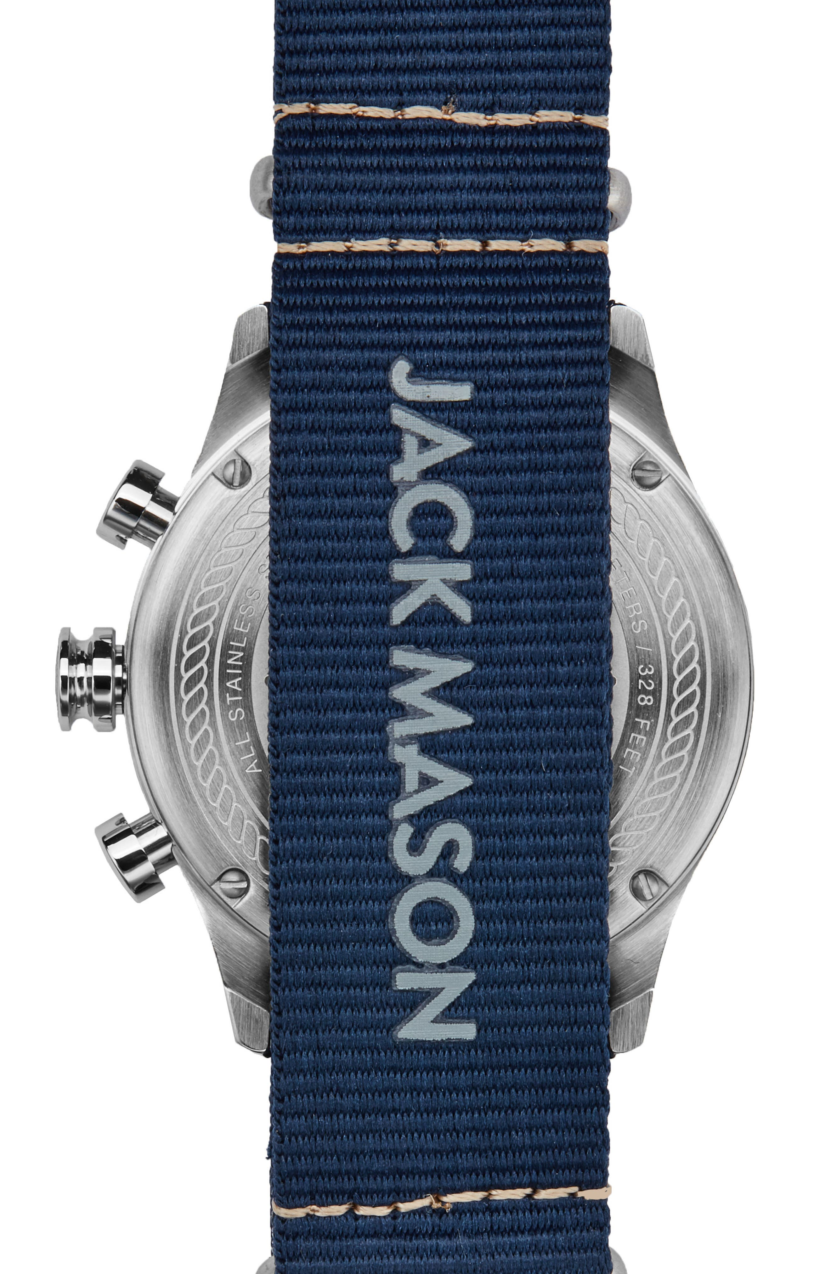 Nautical Chronograph NATO Strap Watch, 42mm,                             Alternate thumbnail 2, color,                             Grey/ Navy