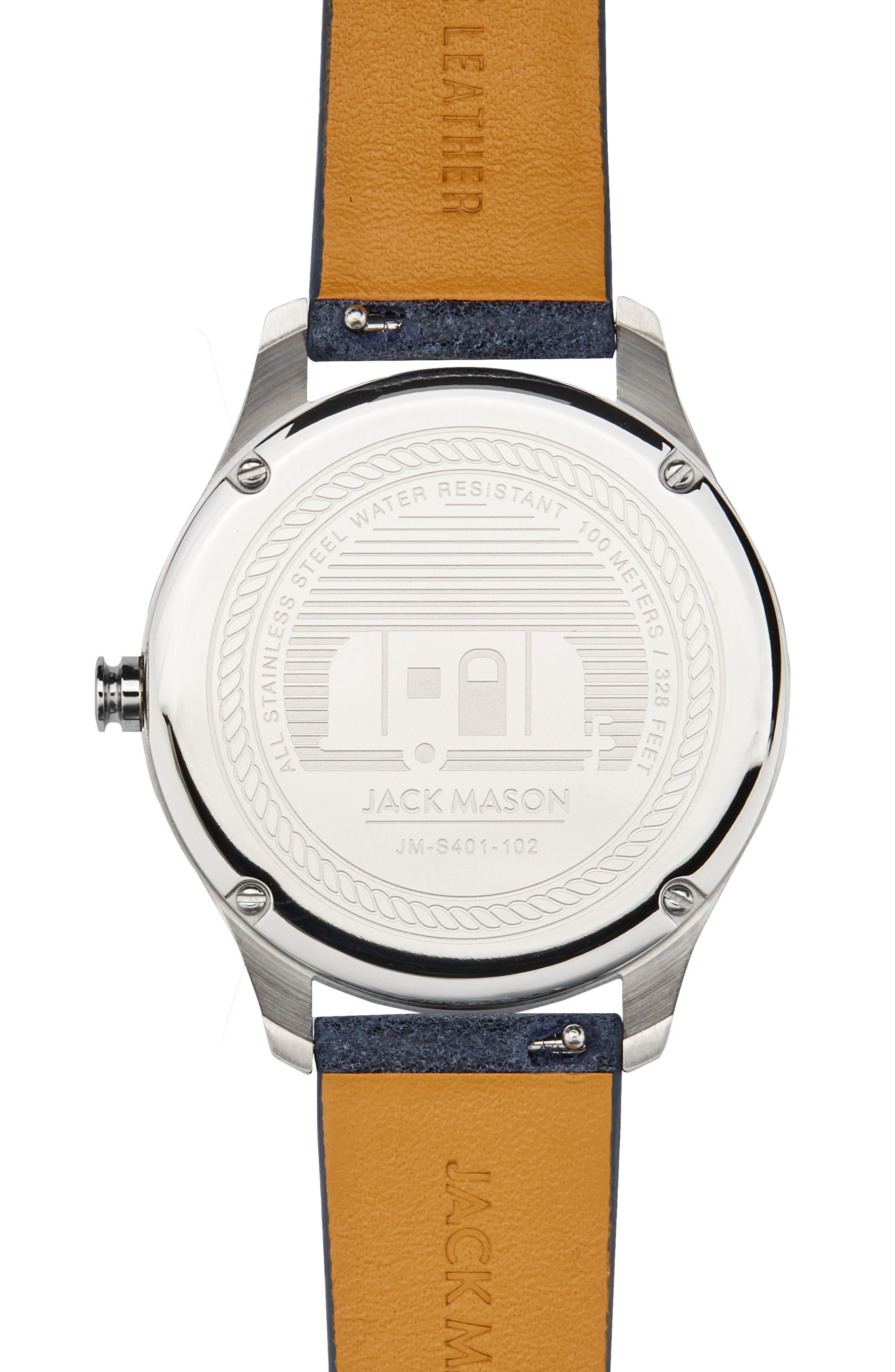 Slim Leather Strap Watch, 38mm,                             Alternate thumbnail 3, color,                             Navy/ Blue/ Silver