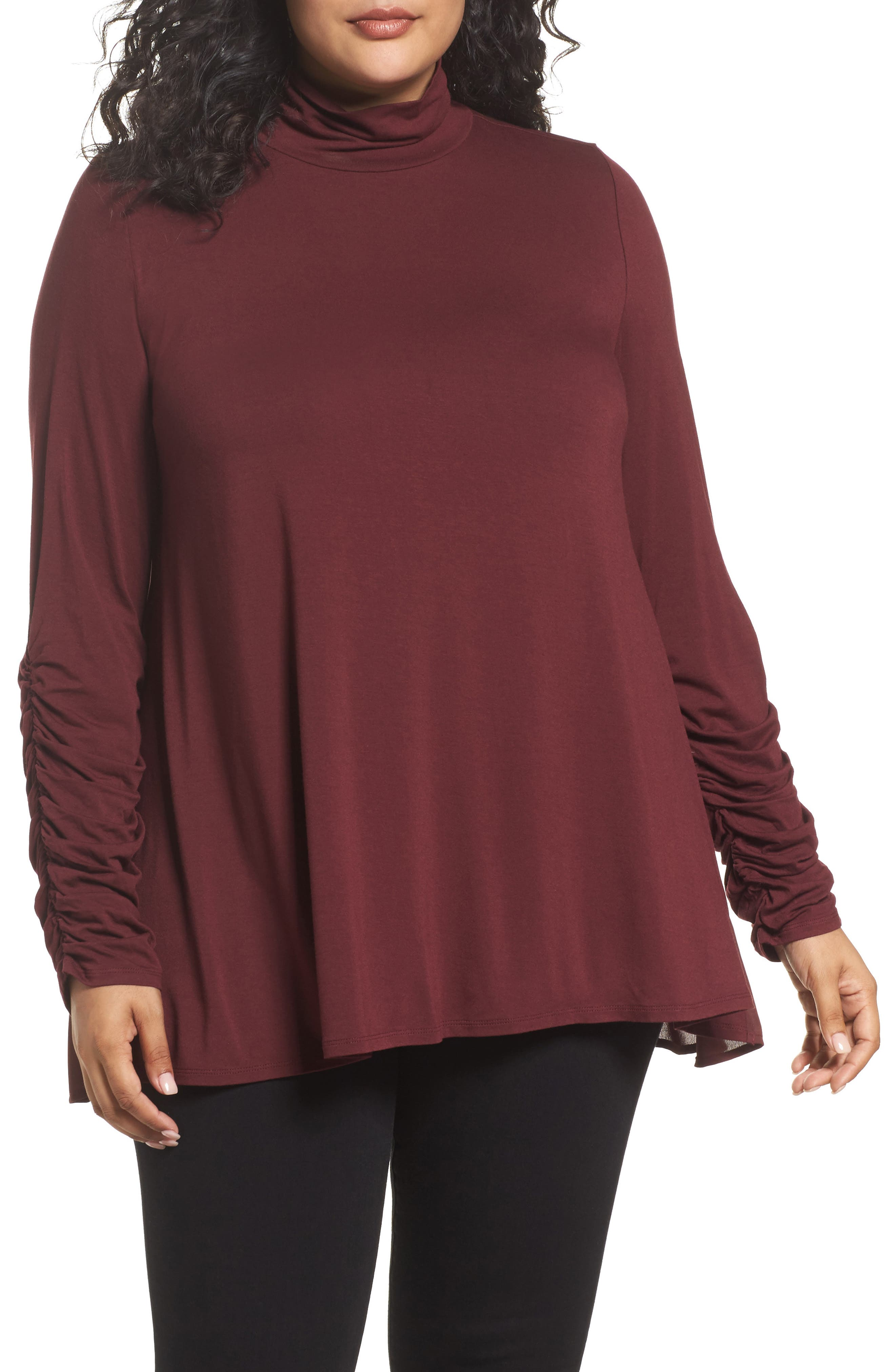 Vince Camuto Ruched Sleeve Turtleneck Top (Plus Size)