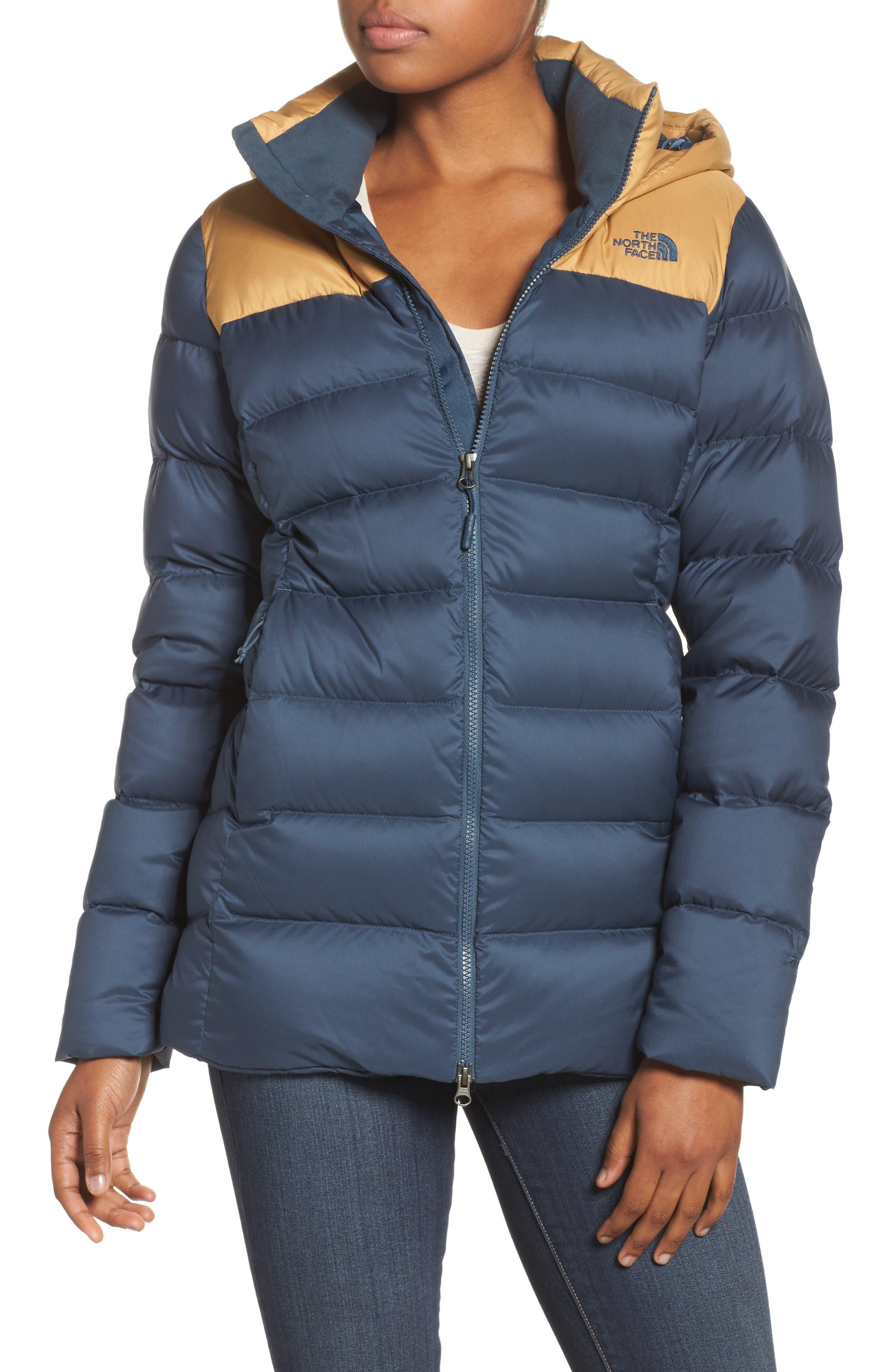 Nupste Ridge Down Jacket,                         Main,                         color, Ink Blue/ Biscuit Tan