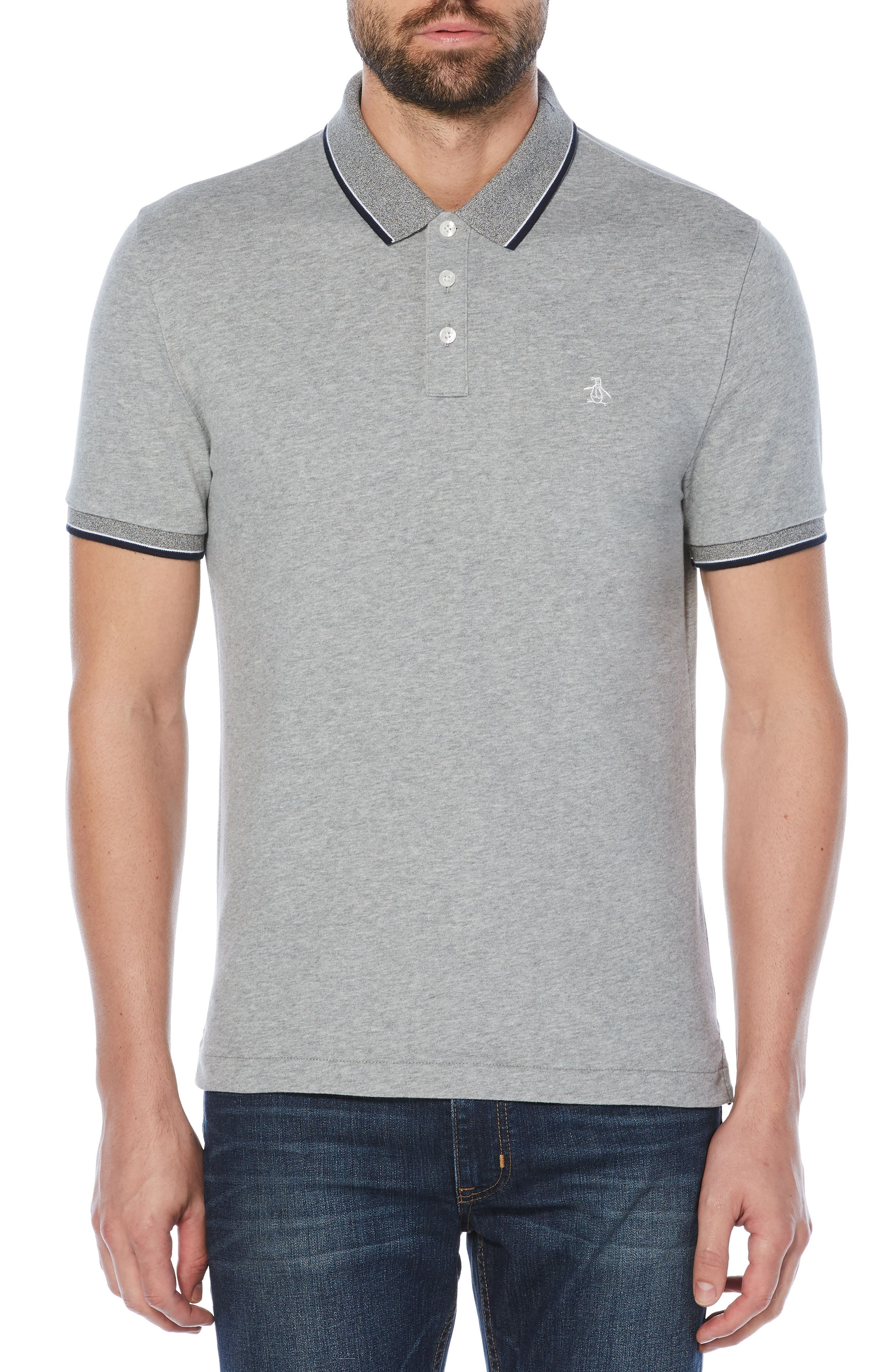 Tipped Collar Polo,                         Main,                         color, Athletic Grey