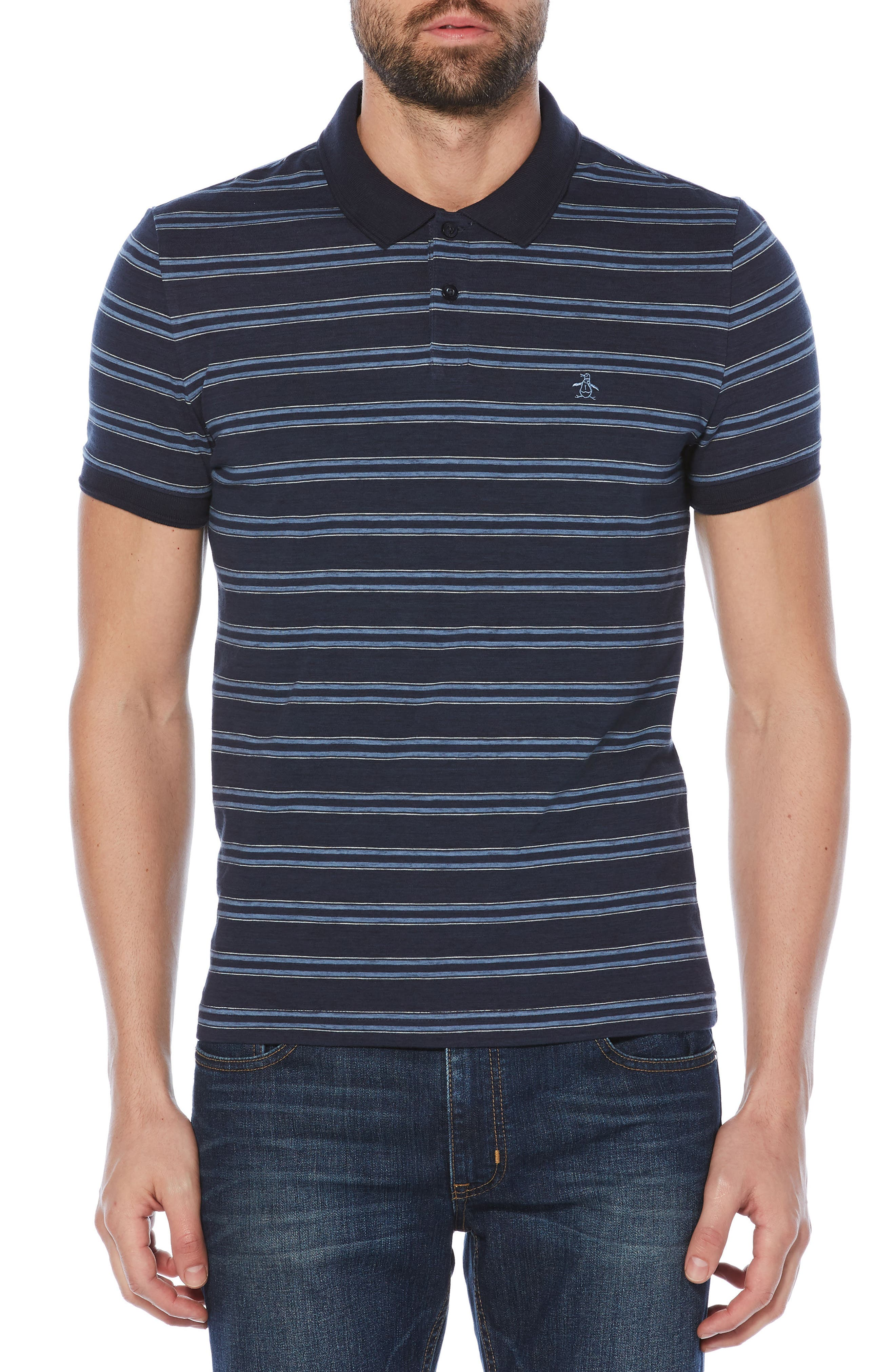 Slub Stripe Polo,                         Main,                         color, Dark Sapphire