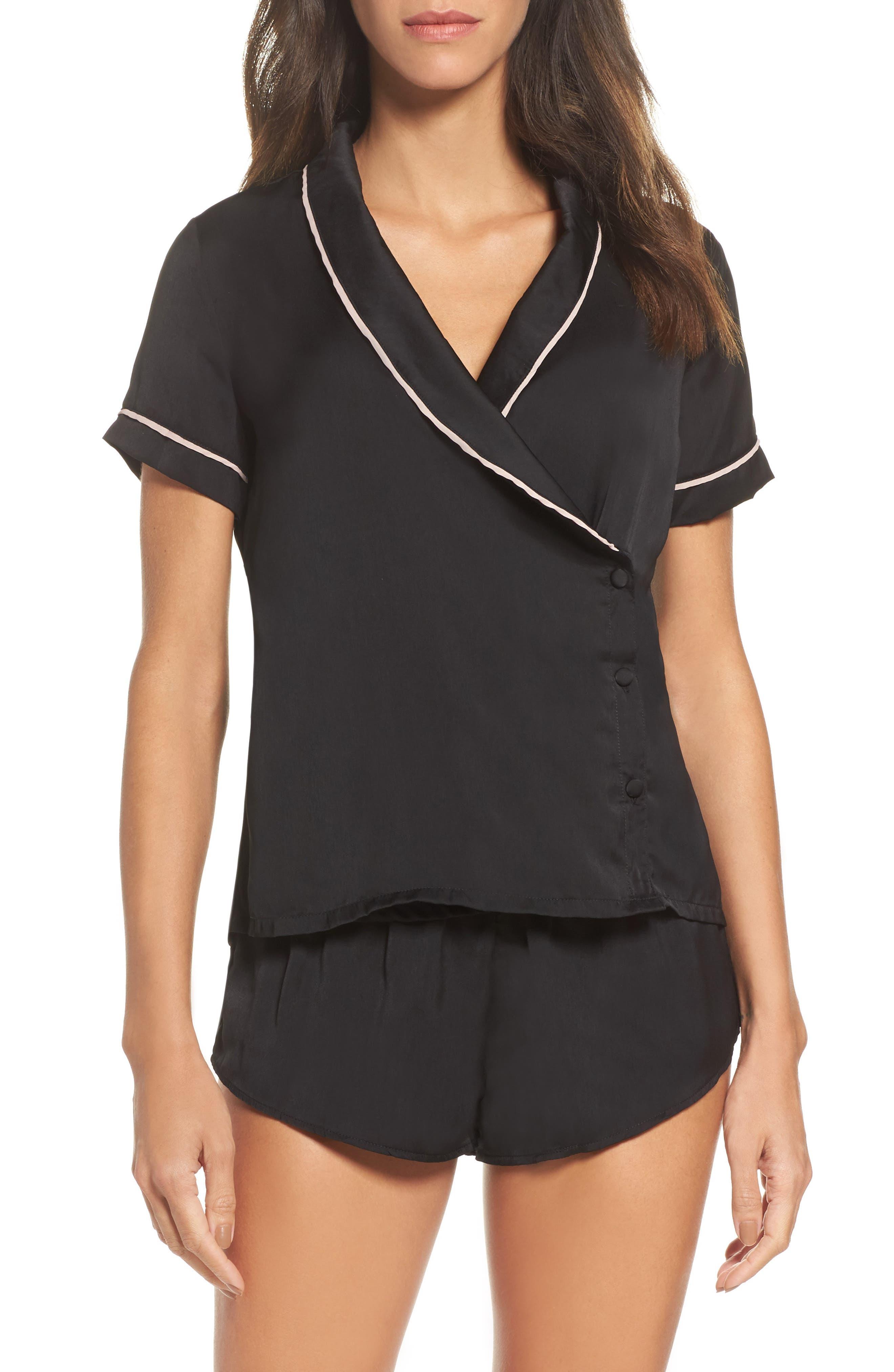 Kara Wrap Top & Shorts Set,                         Main,                         color, Black/ Rose Dust