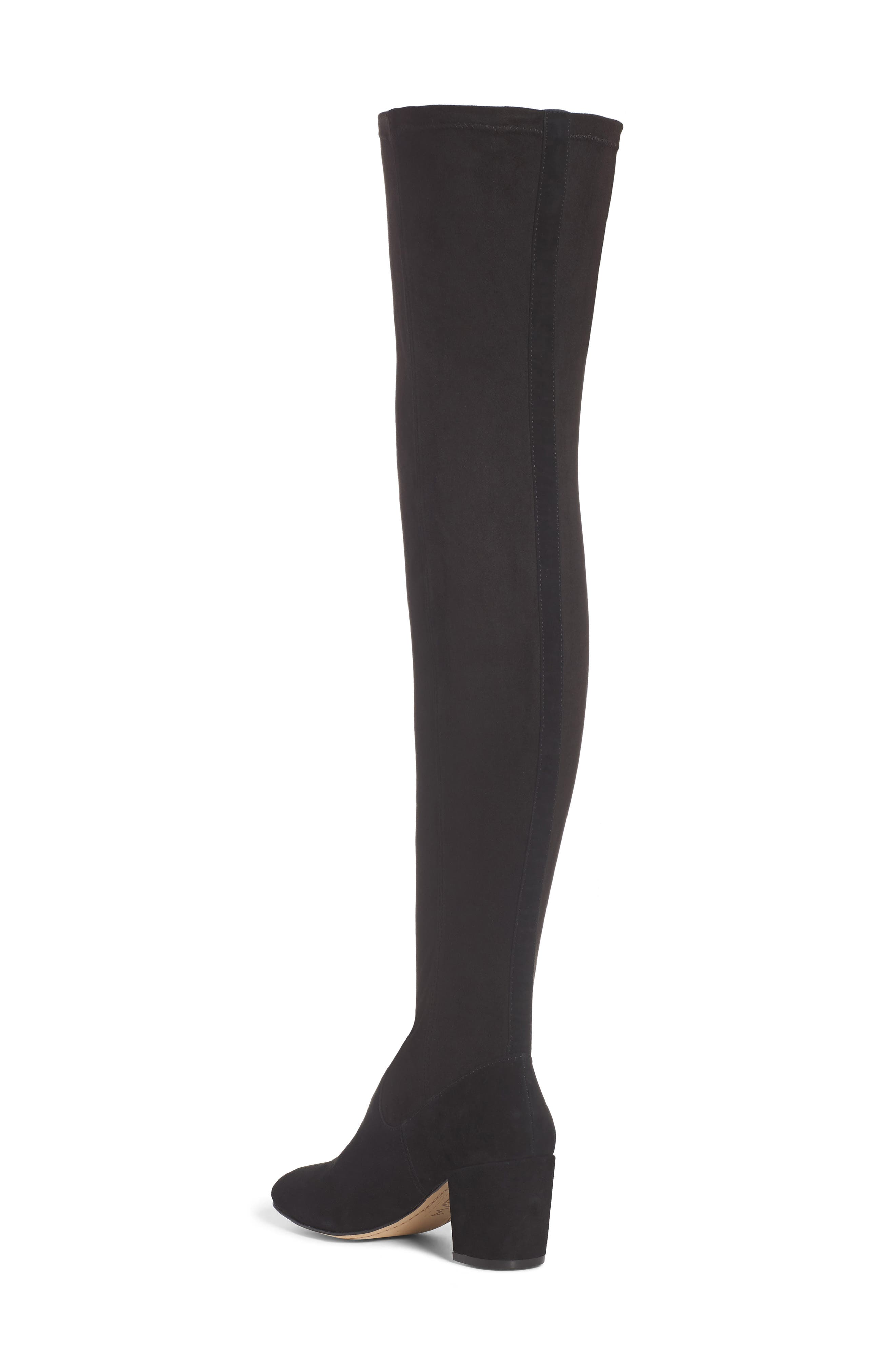 M4D3 Sobrina Over the Knee Boot,                             Alternate thumbnail 2, color,                             Black Suede/ Black Fabric