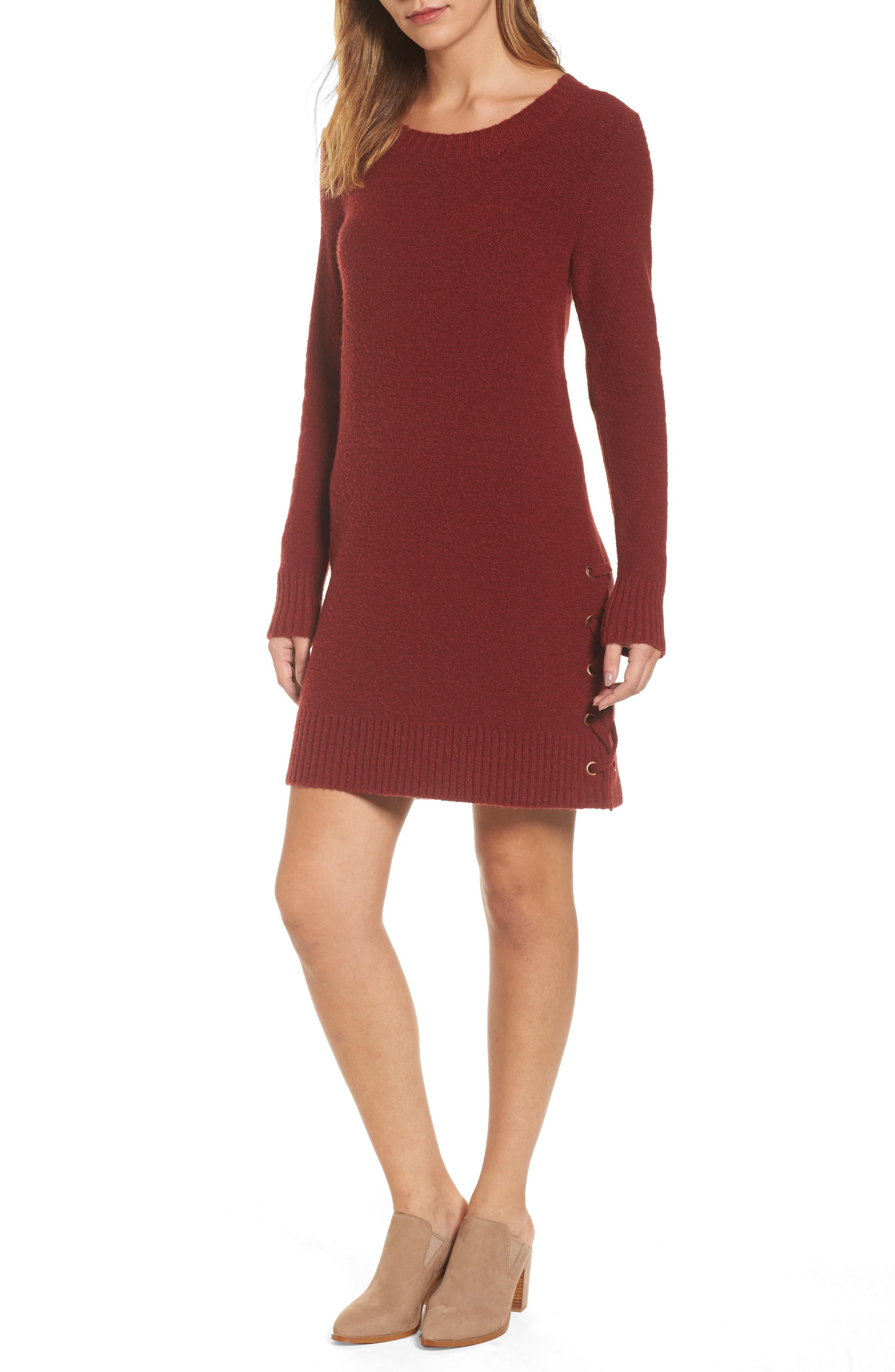 Lucky Brand Lace-Up Hem Sweater Dress