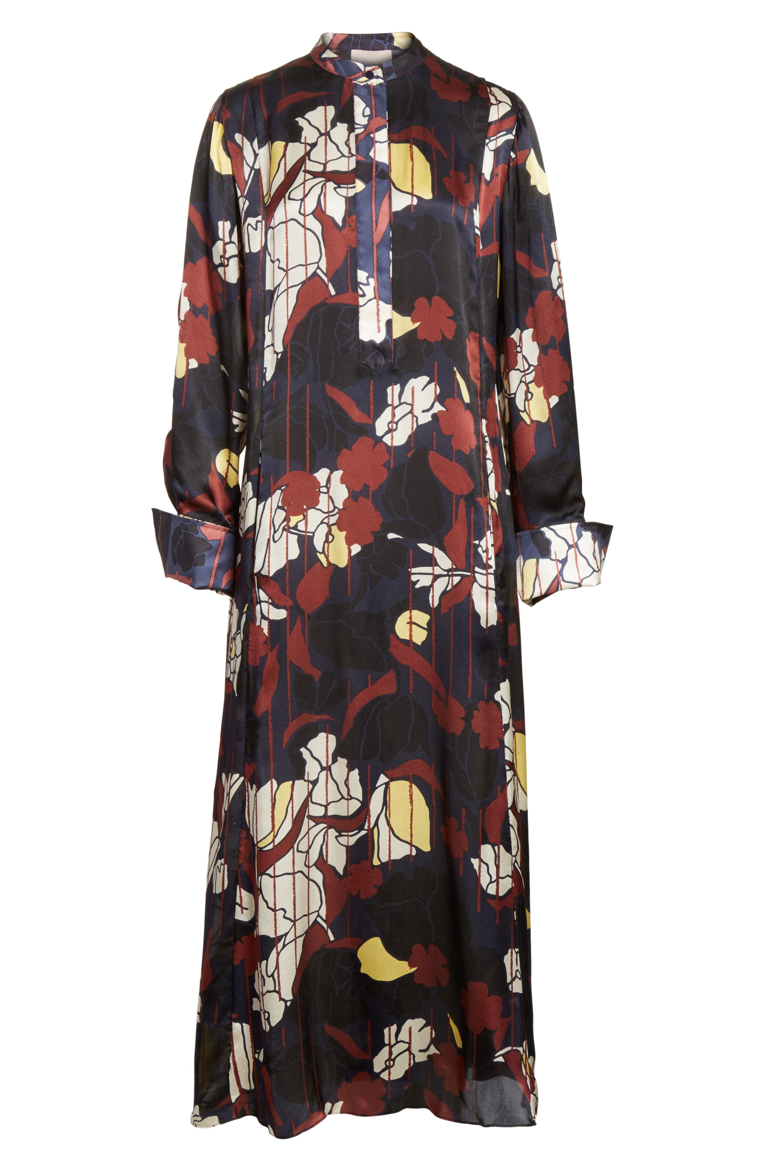 Anwyn Floral Silk Dress,                             Alternate thumbnail 8, color,                             French Blue Floral Print