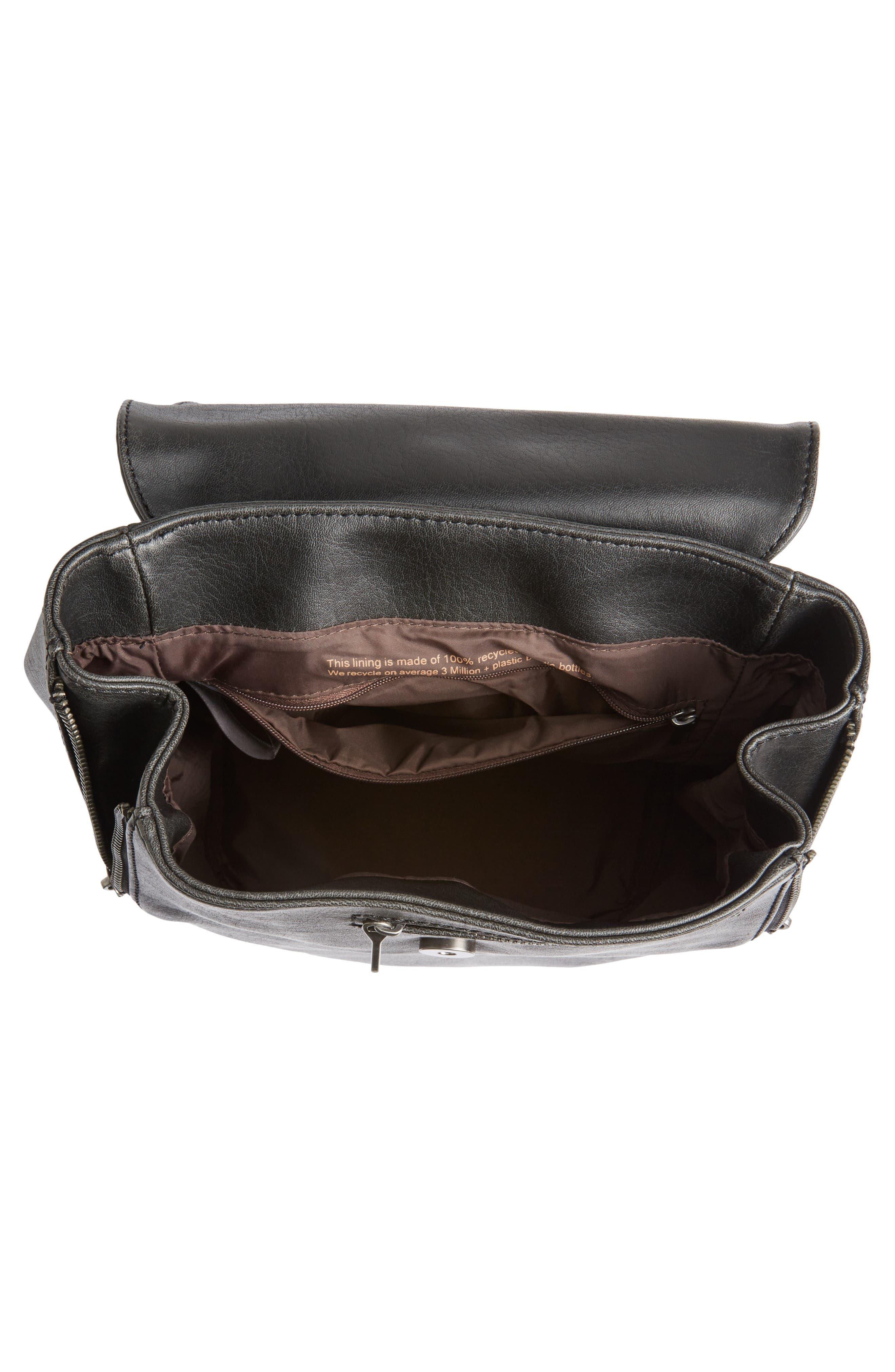 Mini Fabi Faux Leather Backpack,                             Alternate thumbnail 4, color,                             Black