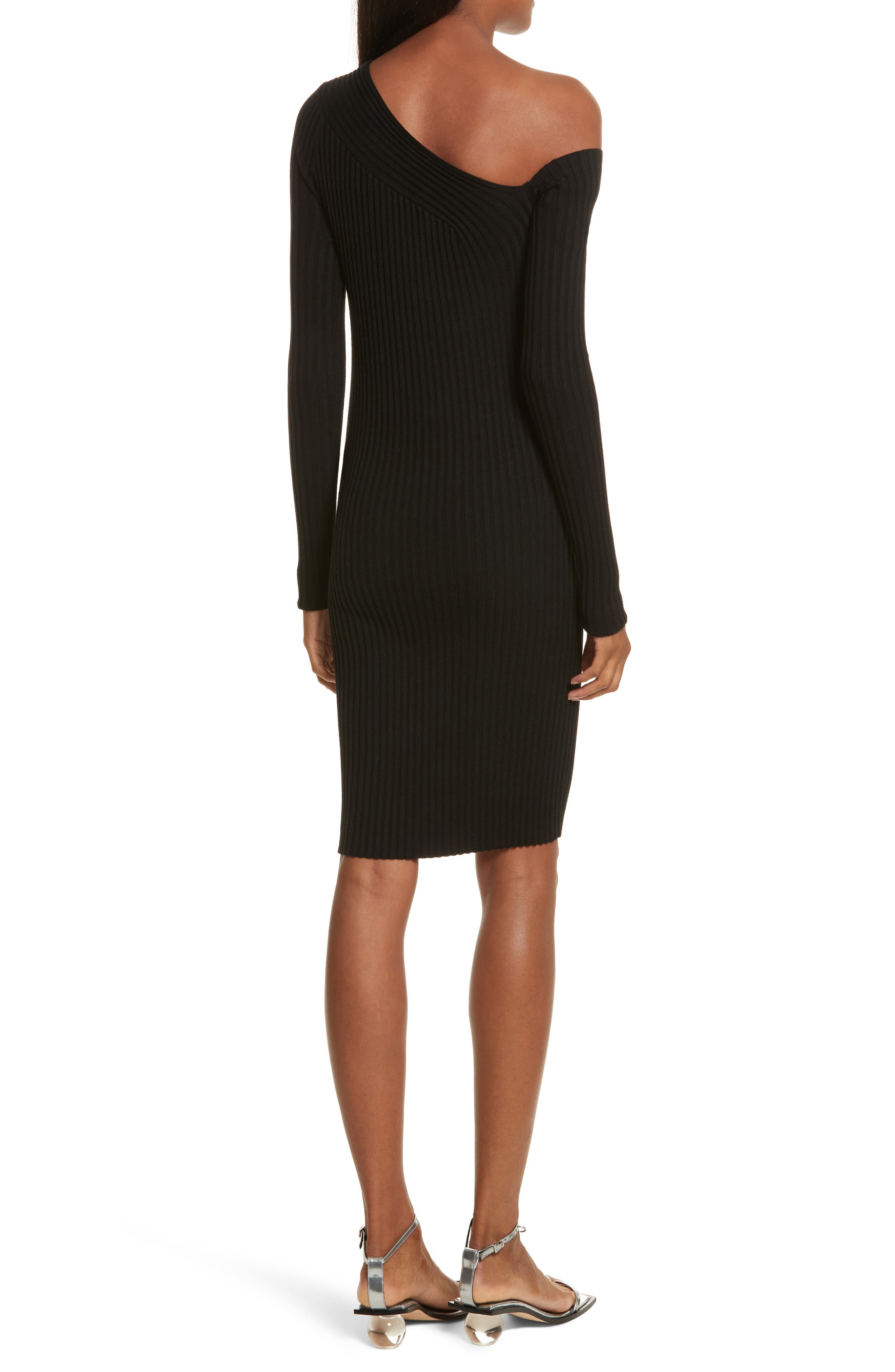 Alternate Image 2  - Helmut Lang Knit Stretch Silk One-Shoulder Dress