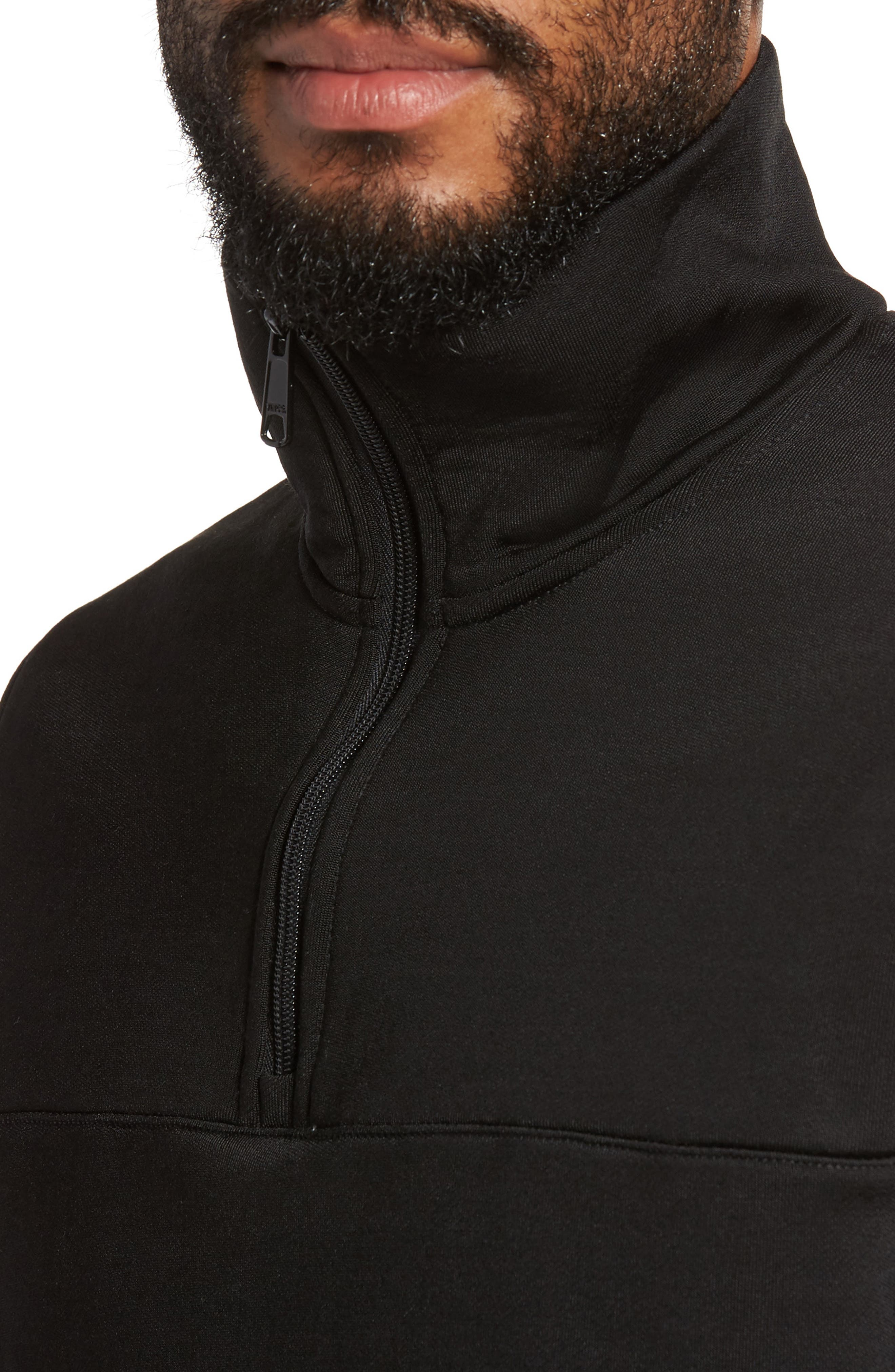 Quarter Zip Pullover,                             Alternate thumbnail 4, color,                             Black