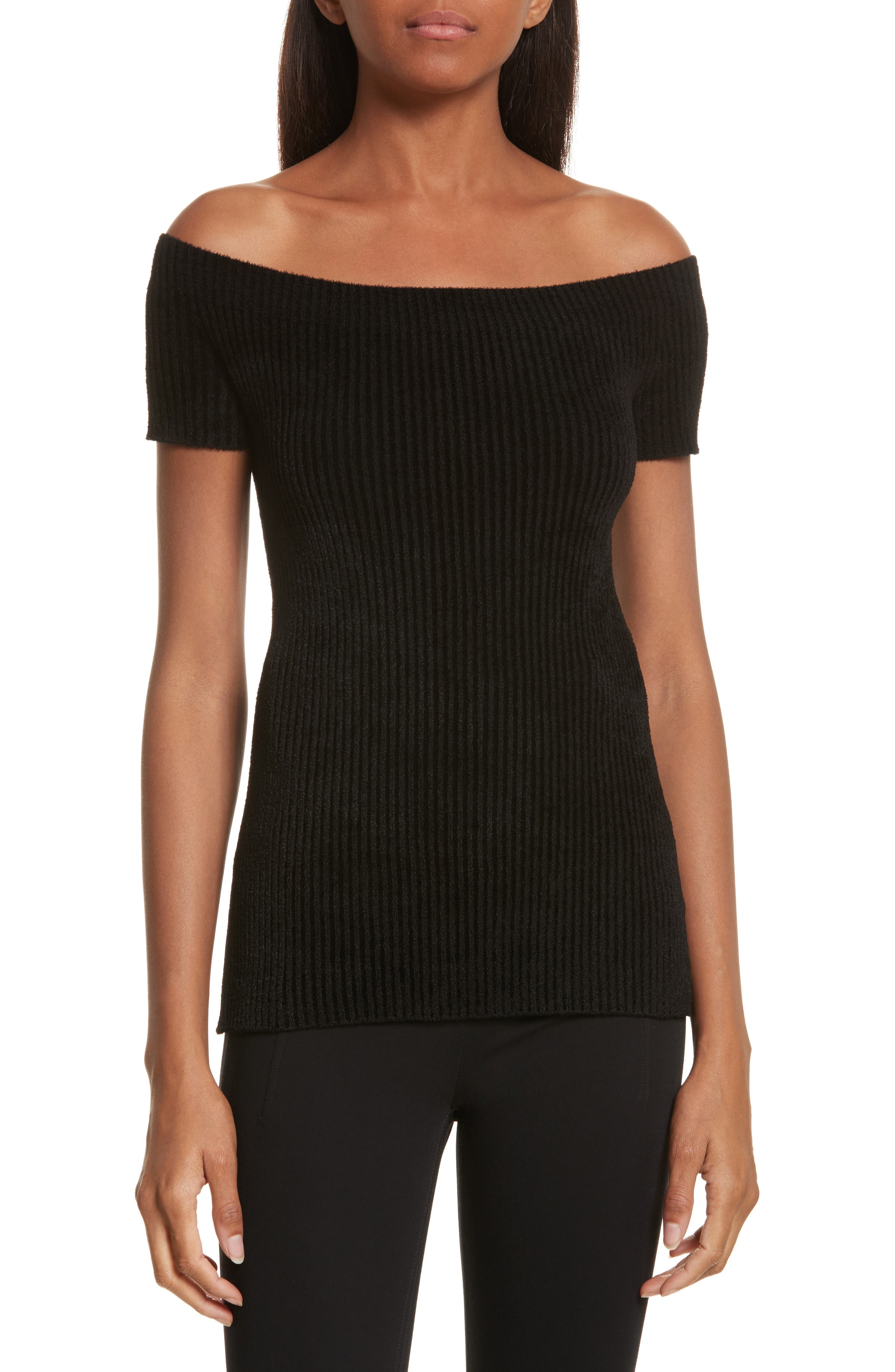 Helmut Lang Velveteen Off the Shoulder Top