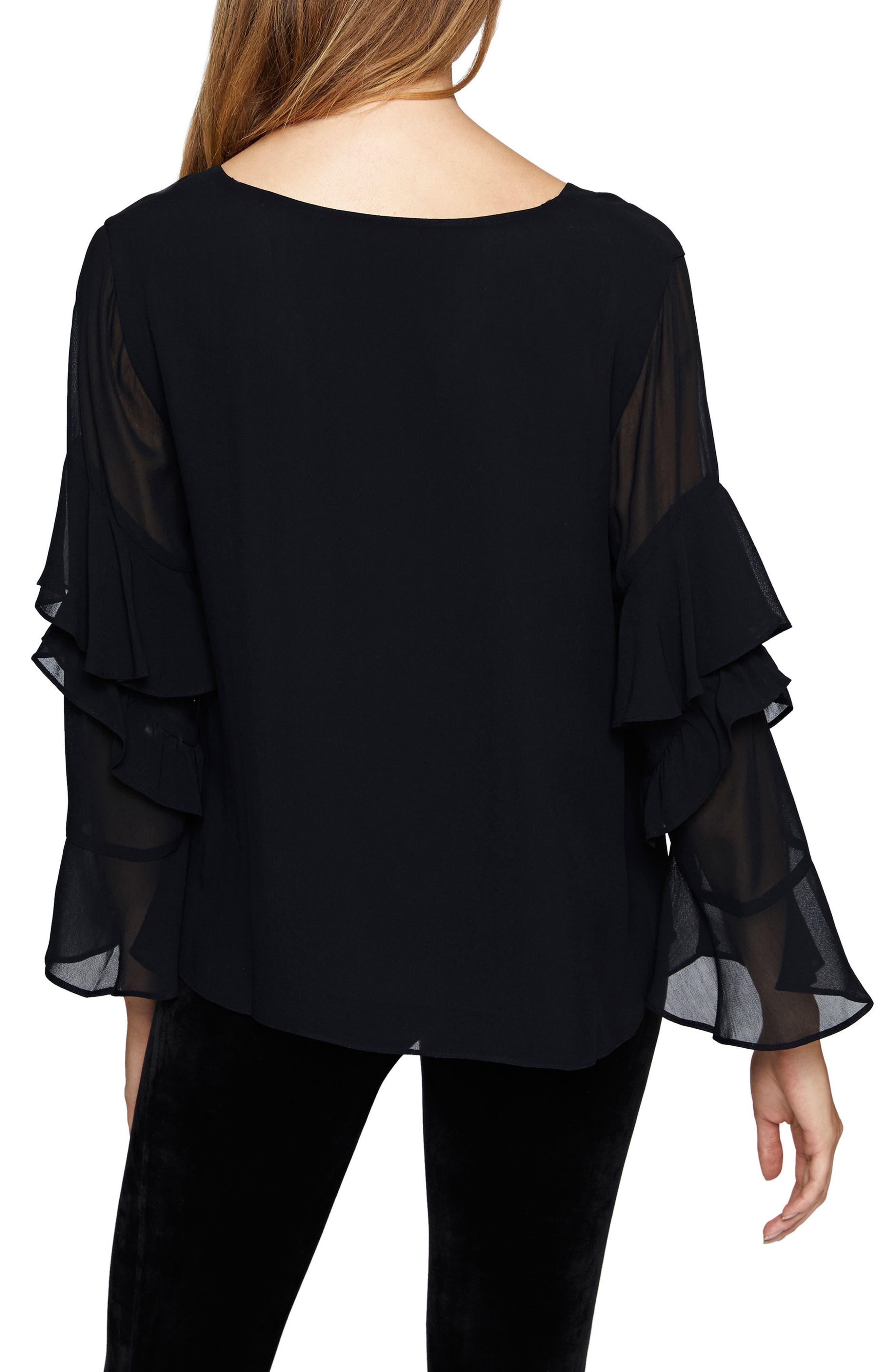 Bianca Sheer Sleeve Top,                             Alternate thumbnail 2, color,                             Black