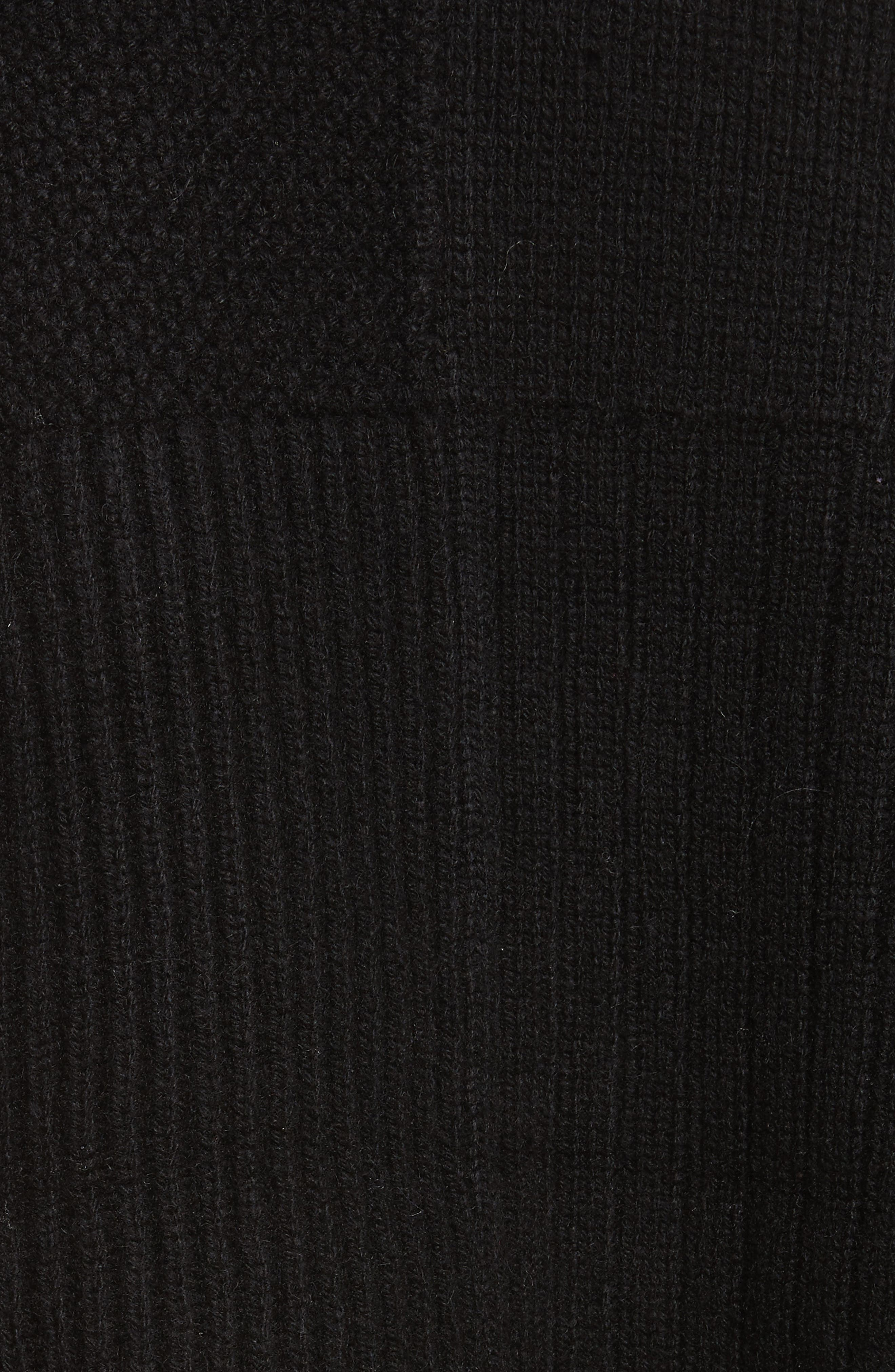 Wool Blend Textured Pullover,                             Alternate thumbnail 5, color,                             Black