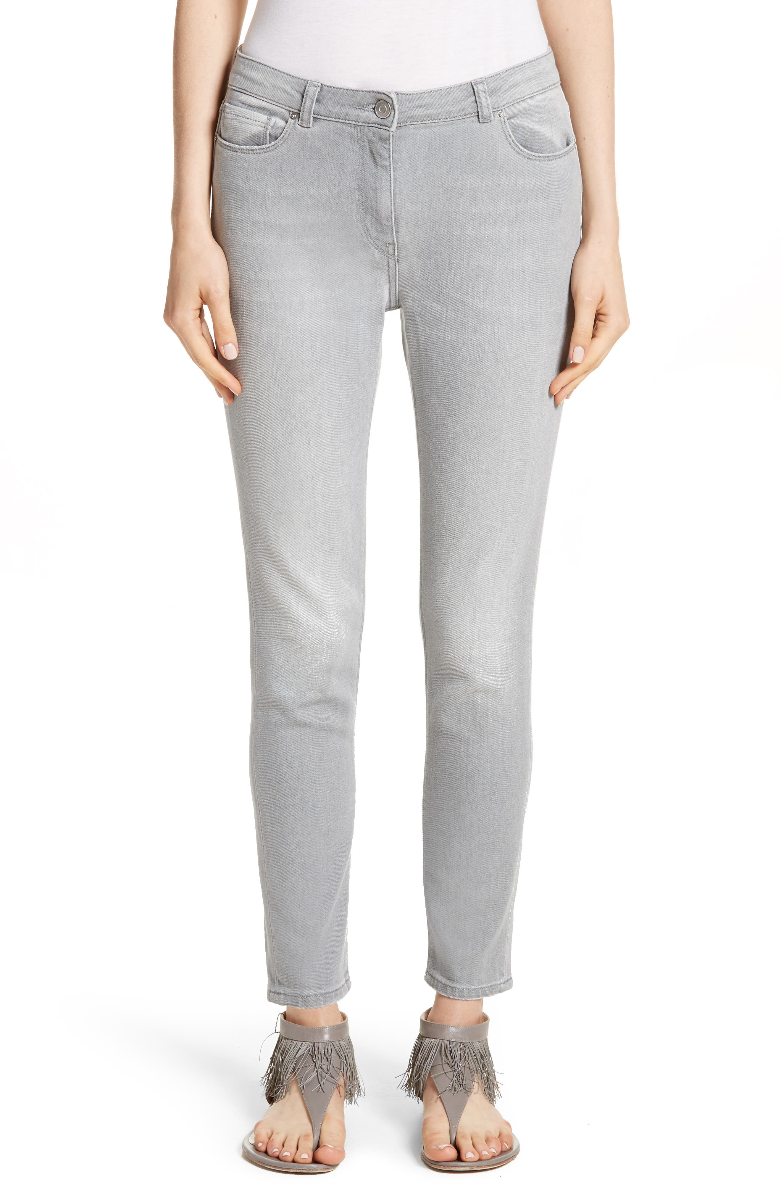 Stretch Skinny Jeans,                         Main,                         color, Grey