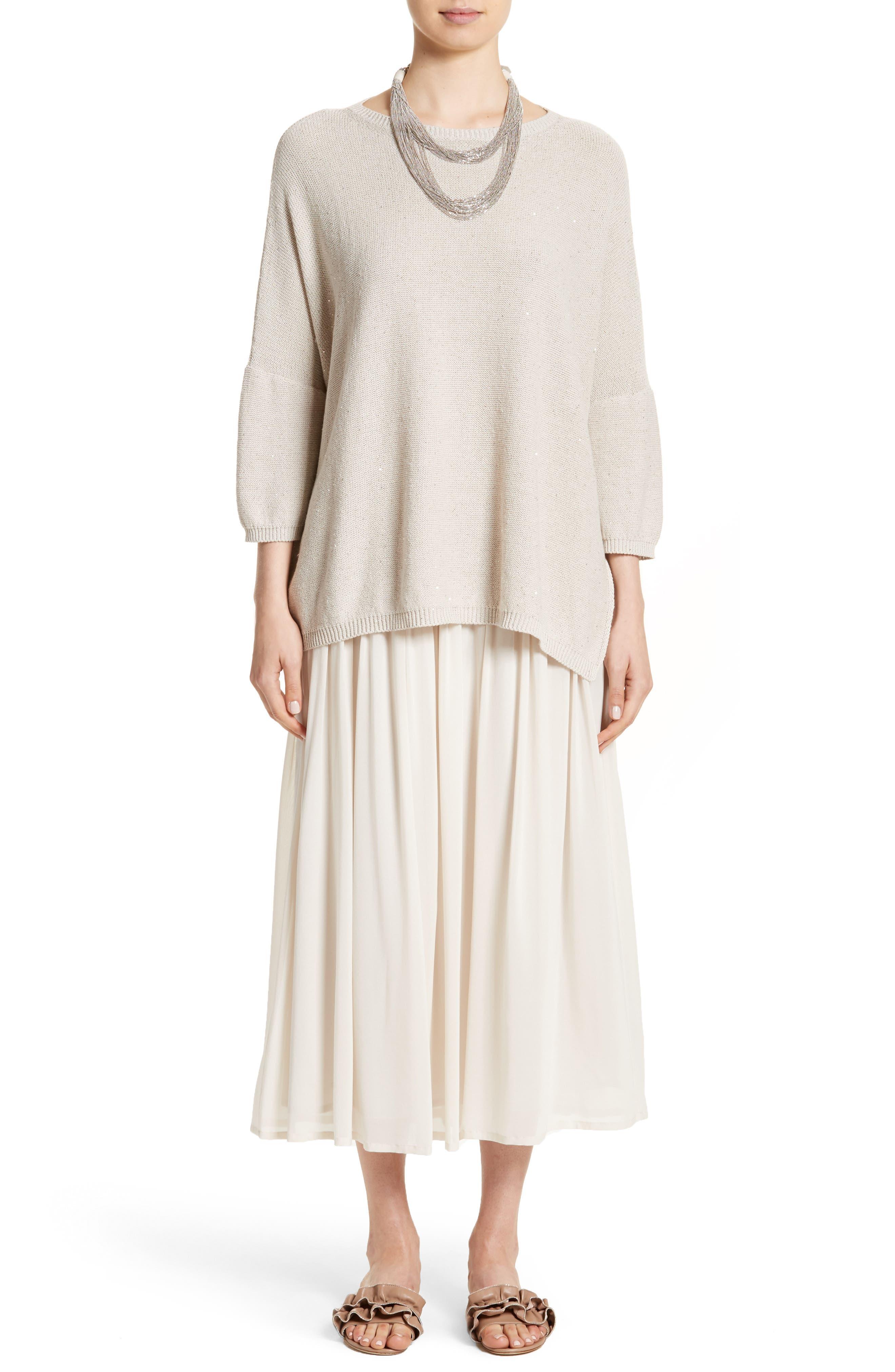 Pleated Chiffon Midi Skirt,                             Alternate thumbnail 9, color,                             Ecru