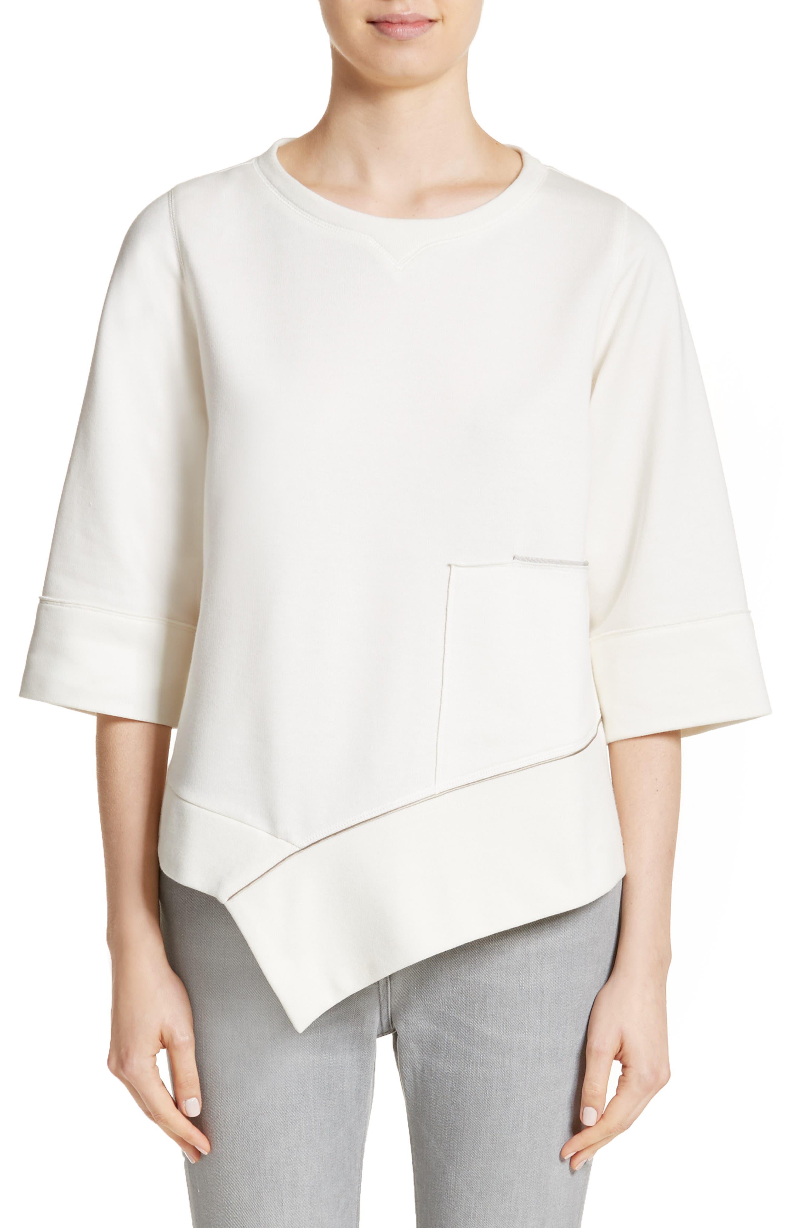 Asymmetrical Cotton Sweatshirt,                         Main,                         color, Ivory
