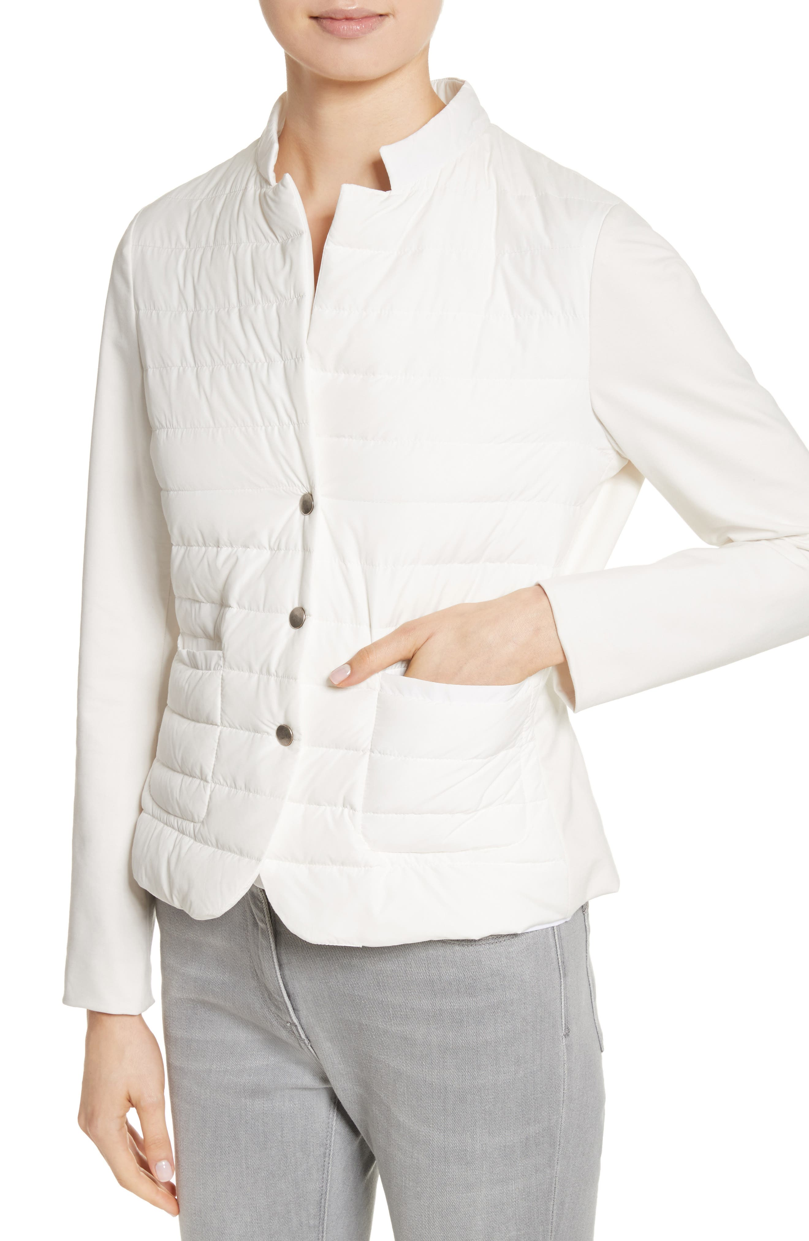 Rodier Jersey Puffer Front Jacket,                             Alternate thumbnail 3, color,                             Pure White