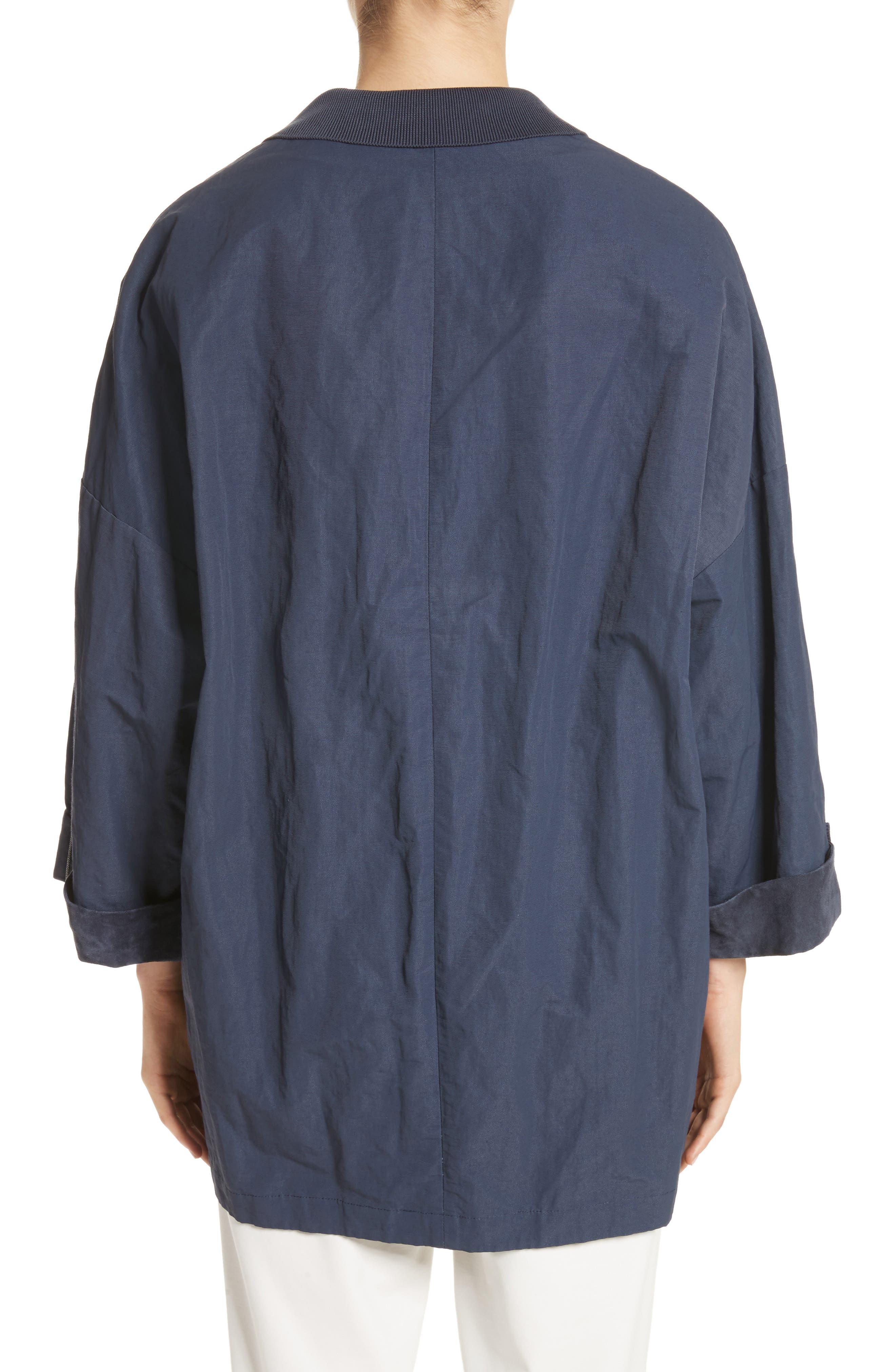 Suede & Cotton Blend Kimono Jacket,                             Alternate thumbnail 2, color,                             Navy