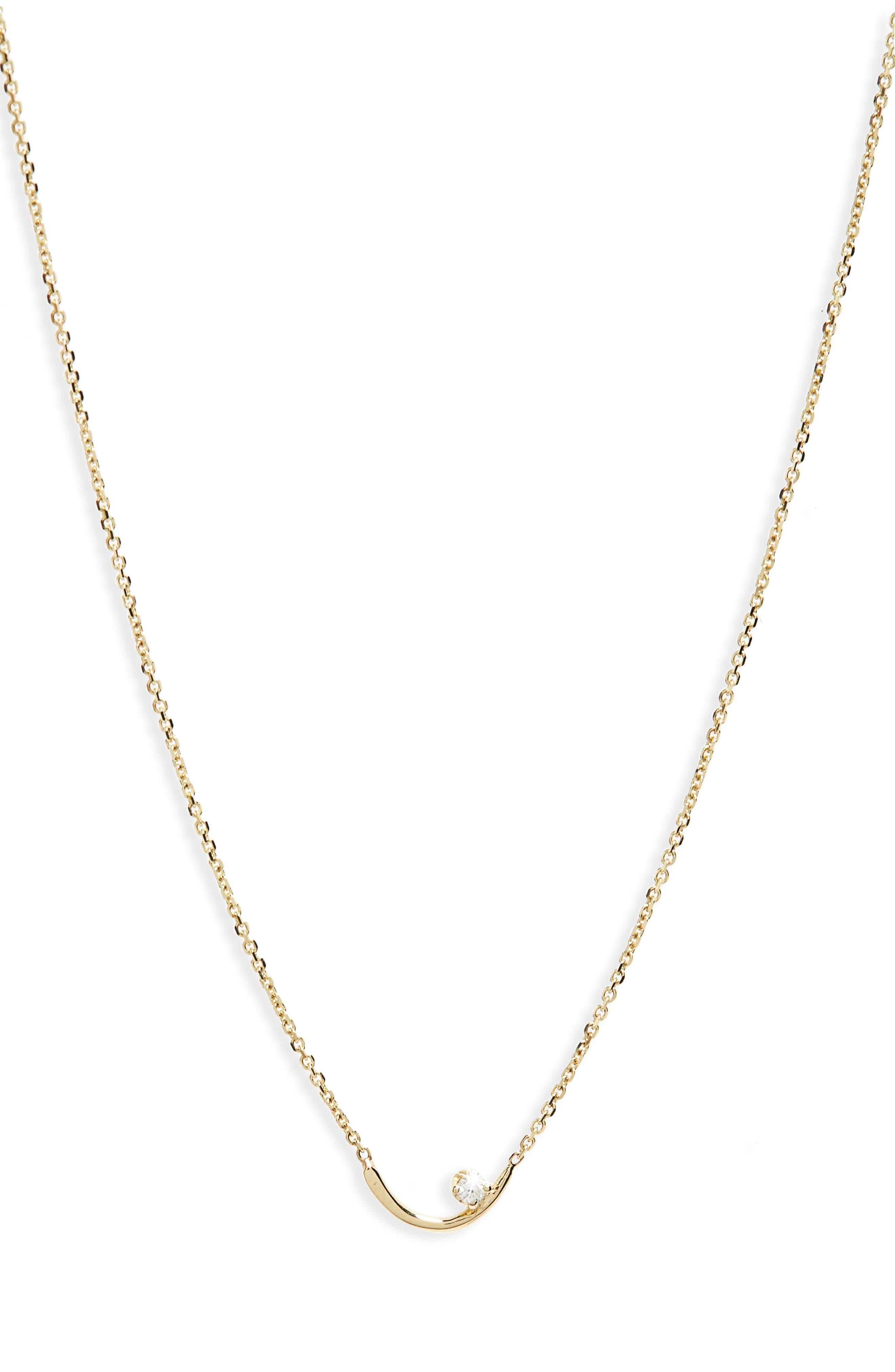 Arc Lineage Necklace, 14K Gold Chain/ White Diamond