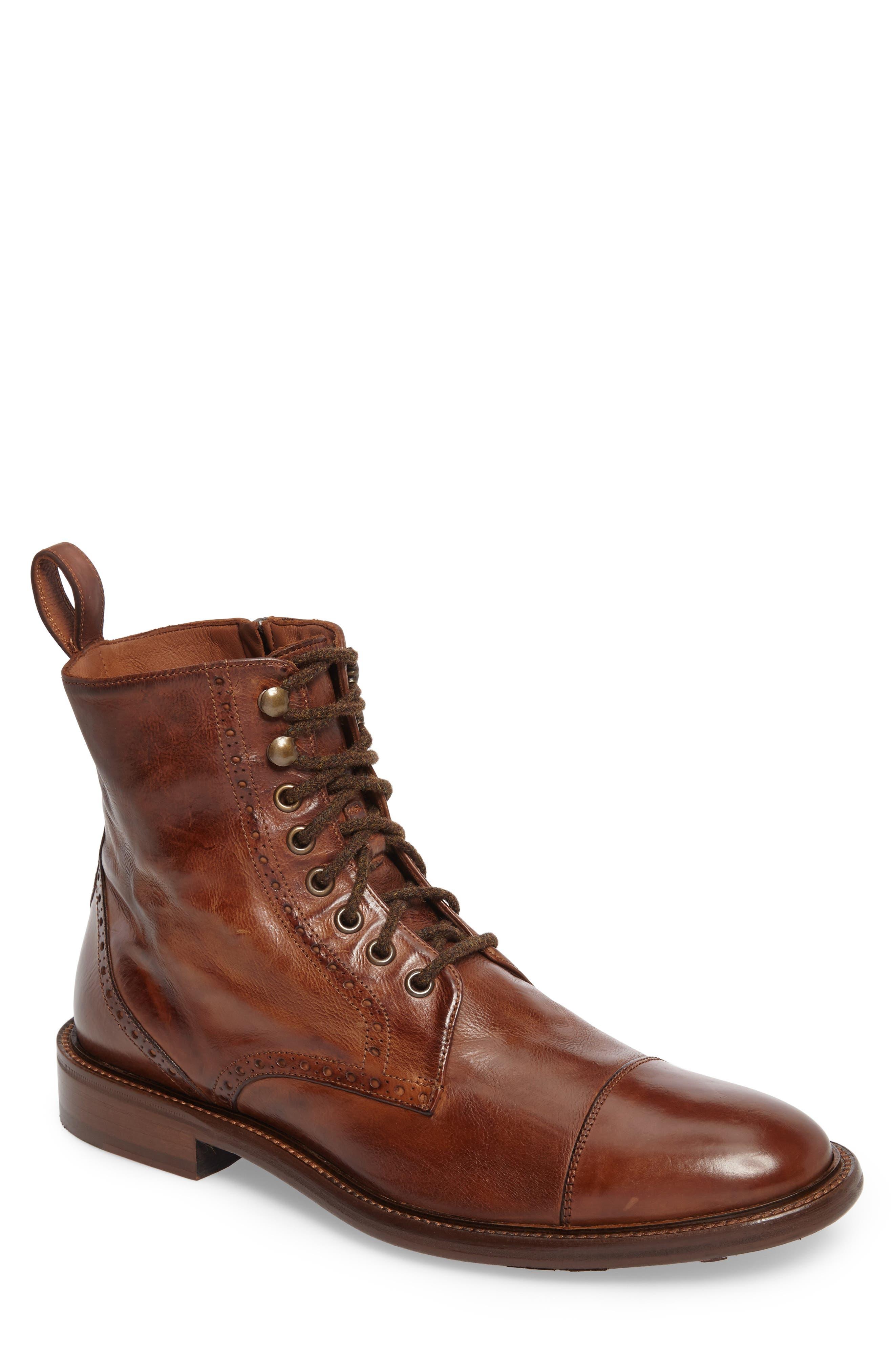 Bryson Cap Toe Boot,                         Main,                         color, Mahogany Leather