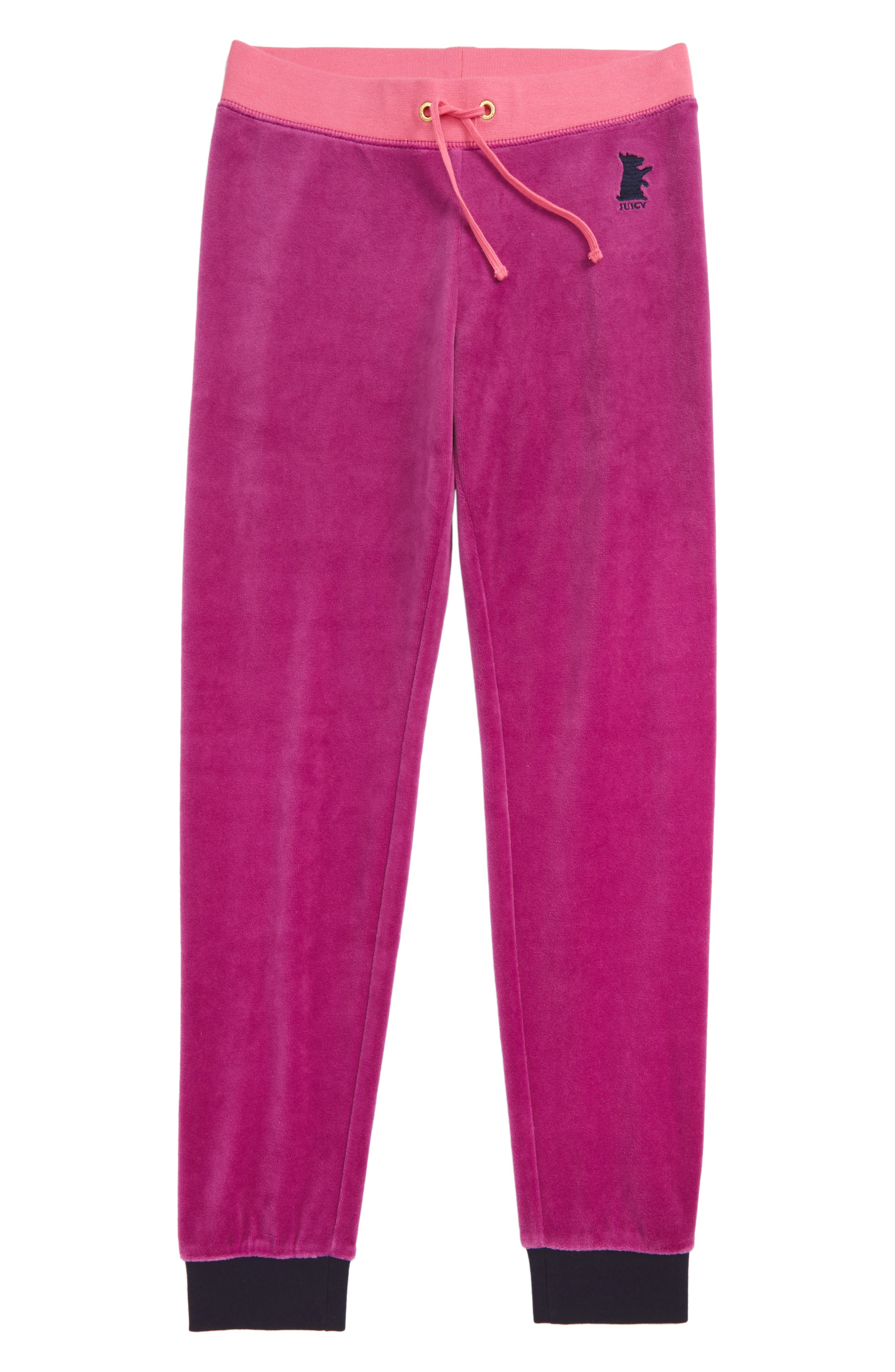 Alternate Image 1 Selected - Juicy Couture Zuma Velour Pants (Big Girls)