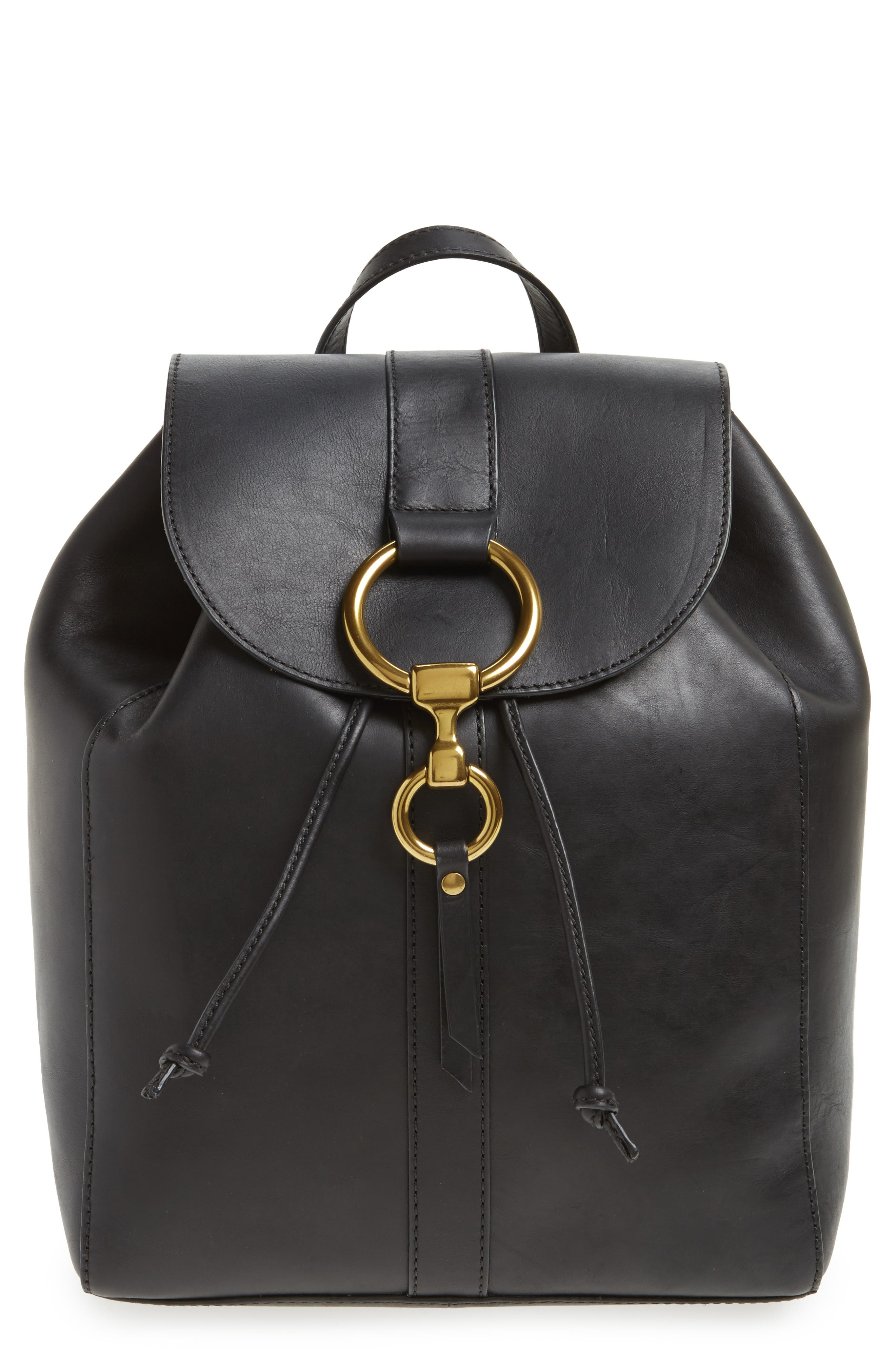 Ilana Harness Leather Backpack,                         Main,                         color, Black